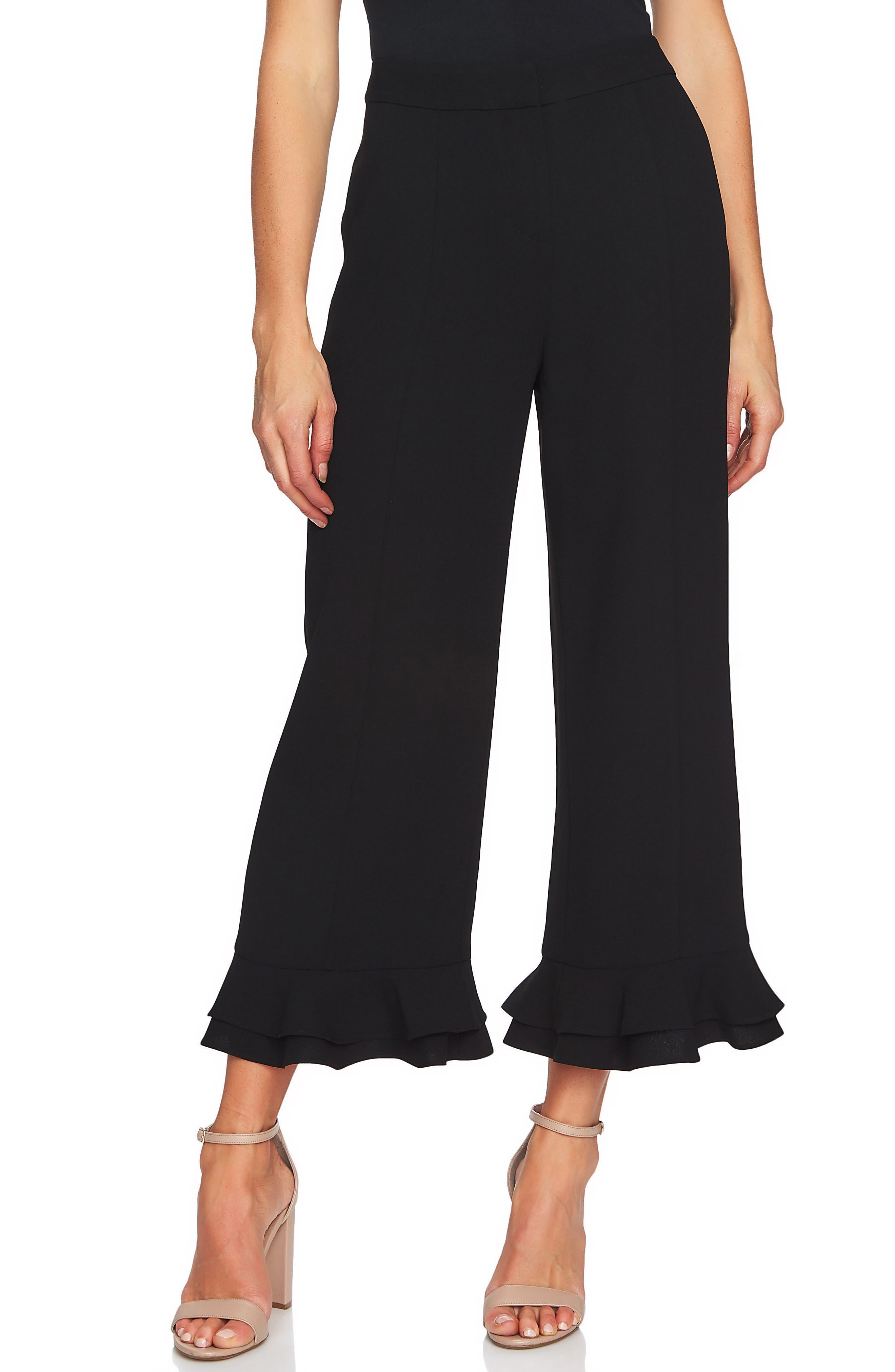 Ruffle Trim Crop Pants,                         Main,                         color, 006