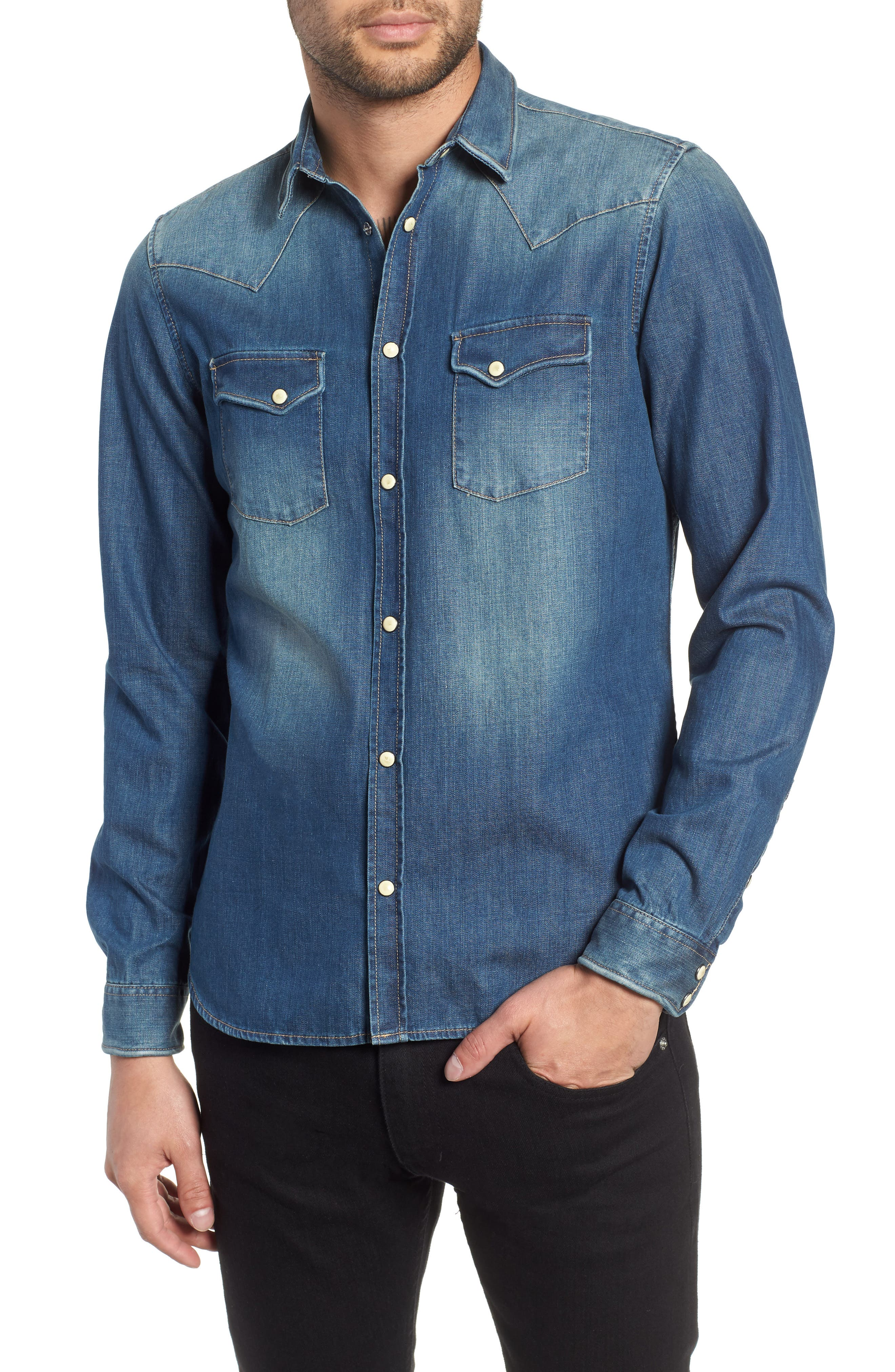 THE KOOPLES,                             Trim Fit Washed Denim Western Shirt,                             Main thumbnail 1, color,                             400