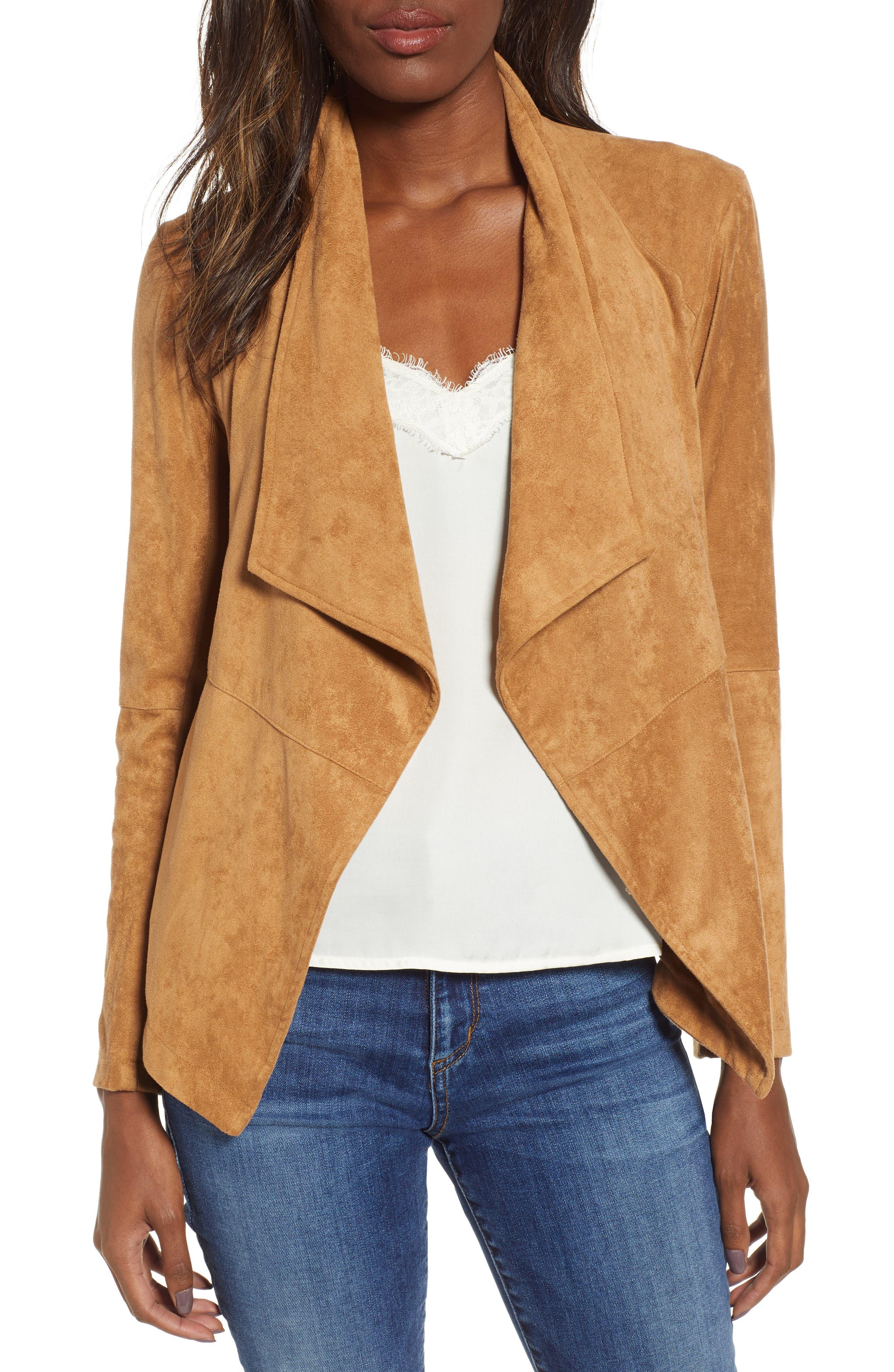 BB DAKOTA Nicholson Faux Suede Drape Front Jacket, Main, color, WHISKEY