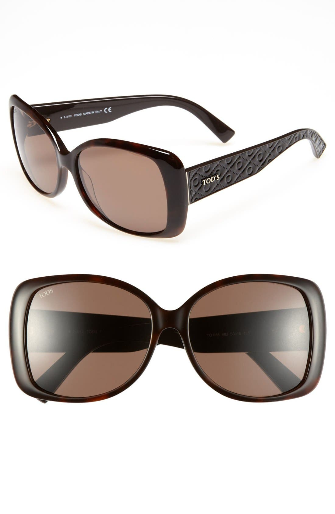 58mm Square Sunglasses,                             Main thumbnail 2, color,