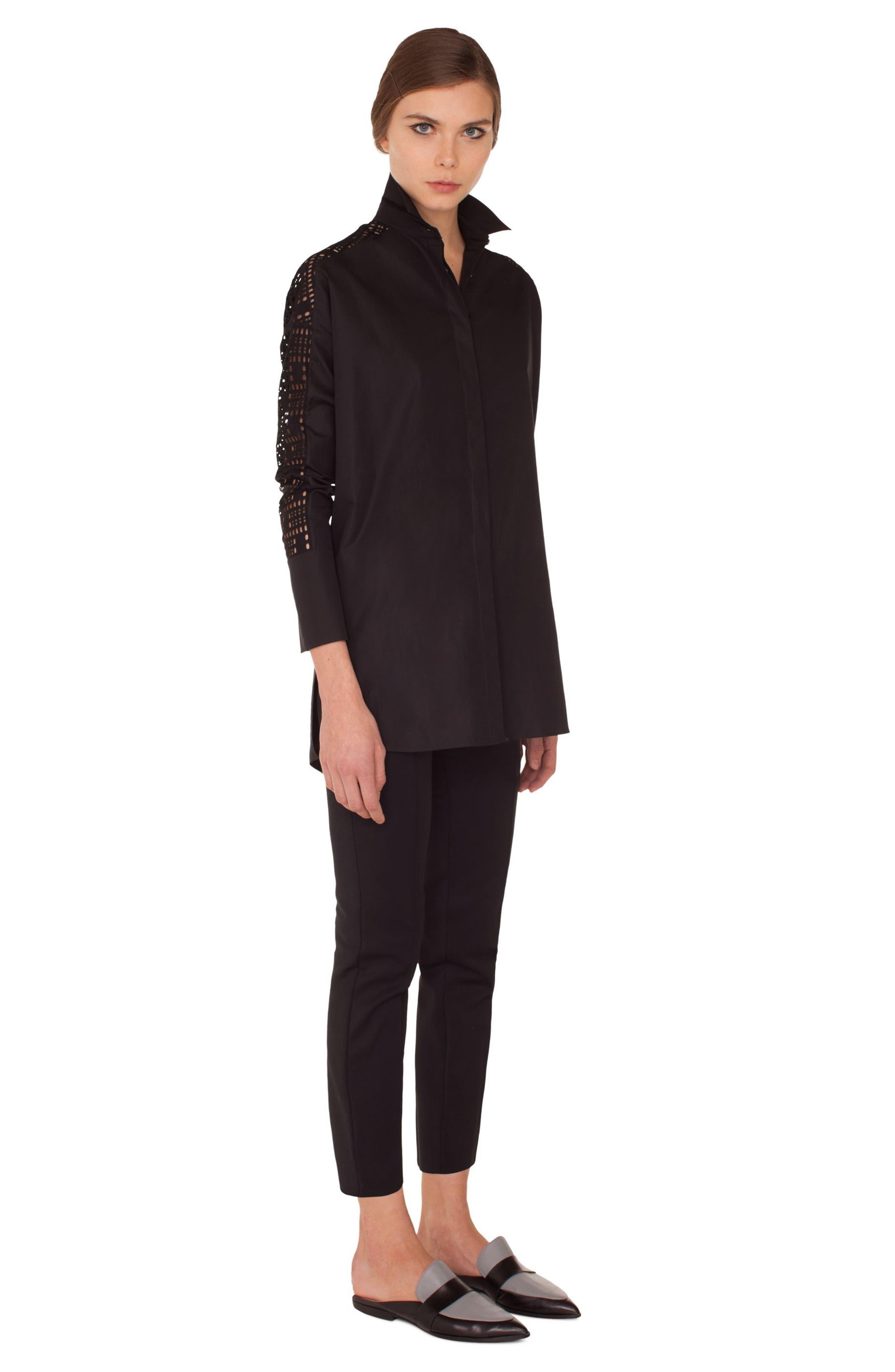 Lace Sleeve Cotton Tunic,                             Alternate thumbnail 3, color,                             009