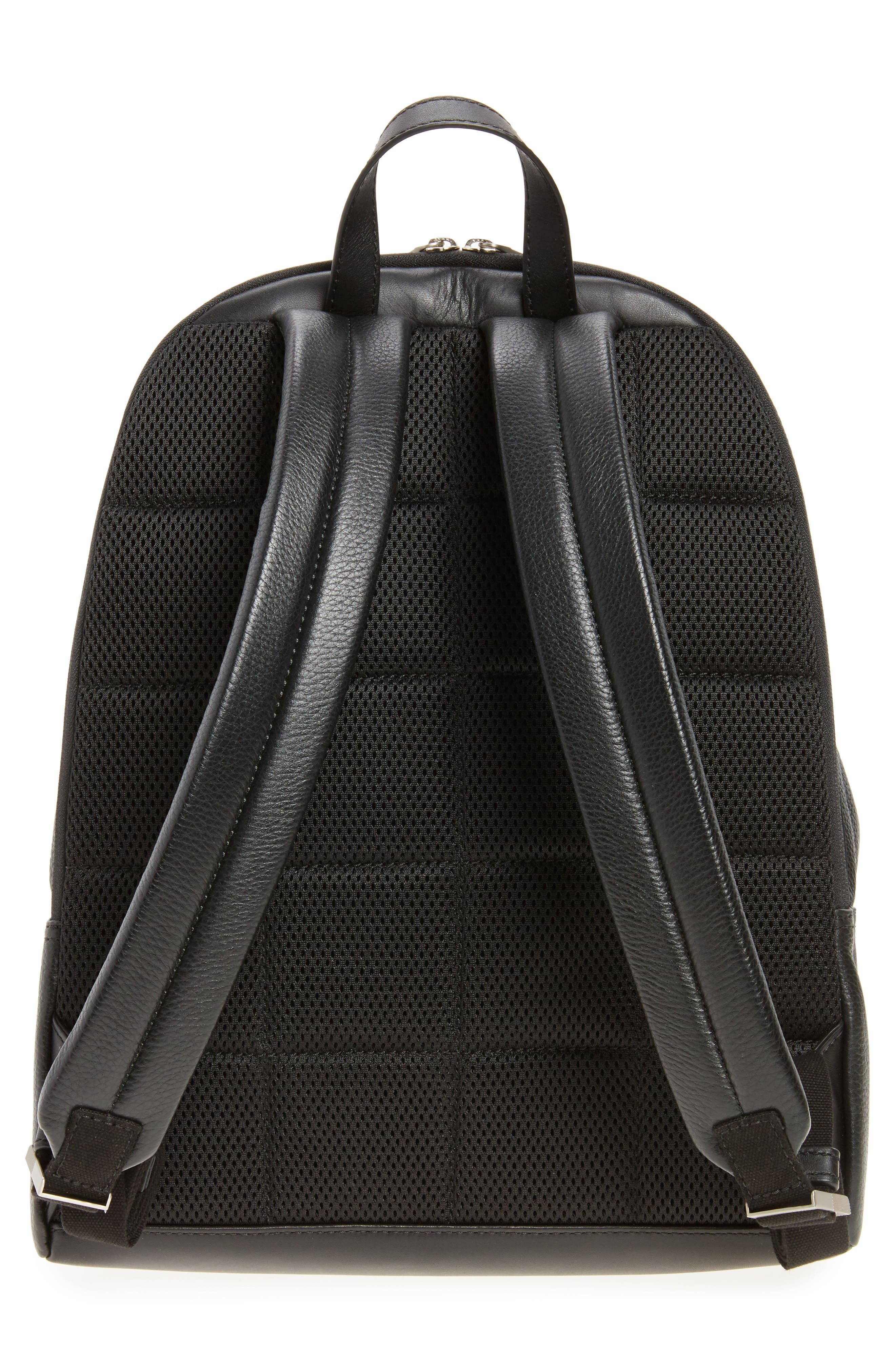 Pebbled Leather Backpack,                             Alternate thumbnail 3, color,                             001