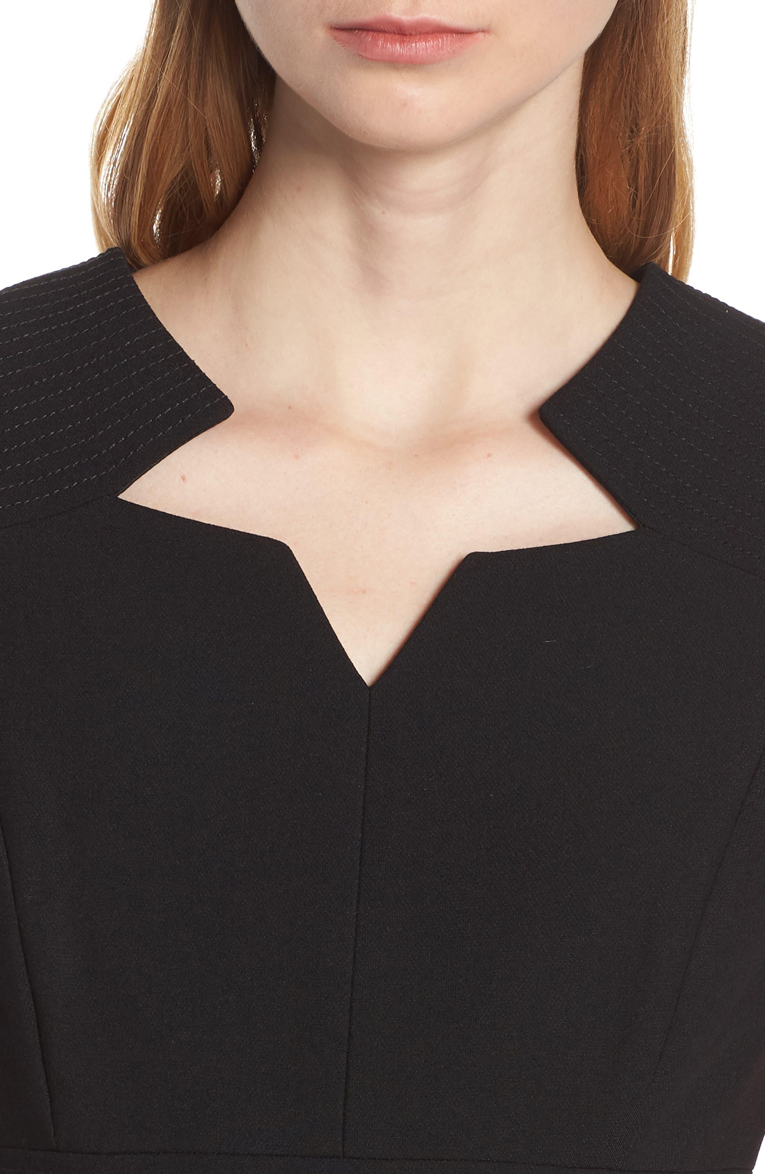 TAHARI,                             Star Neckline Crepe Sheath Dress,                             Alternate thumbnail 5, color,                             BLACK