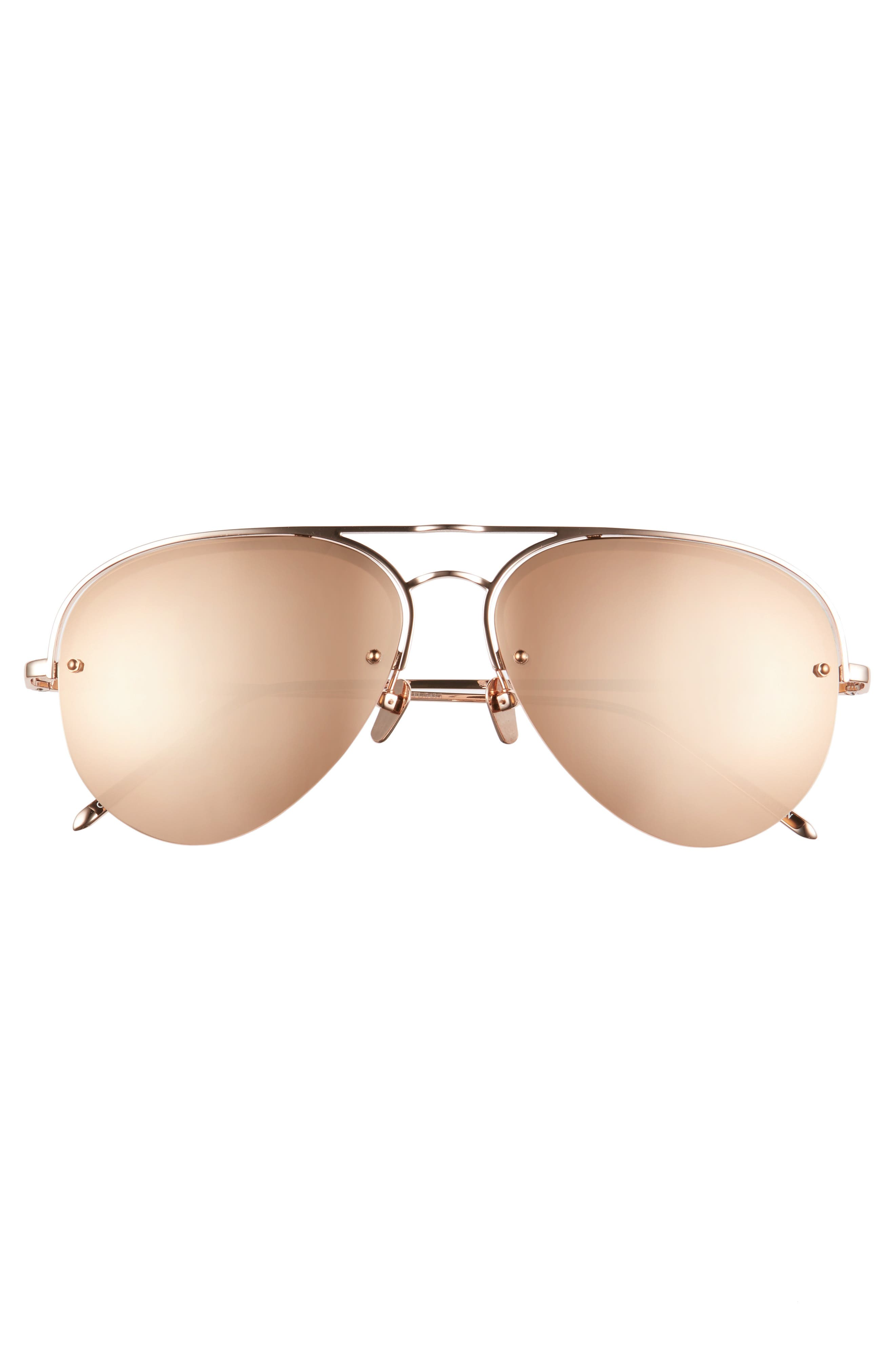 60mm Mirrored 18 Karat Gold Aviator Sunglasses,                             Alternate thumbnail 3, color,                             ROSE GOLD