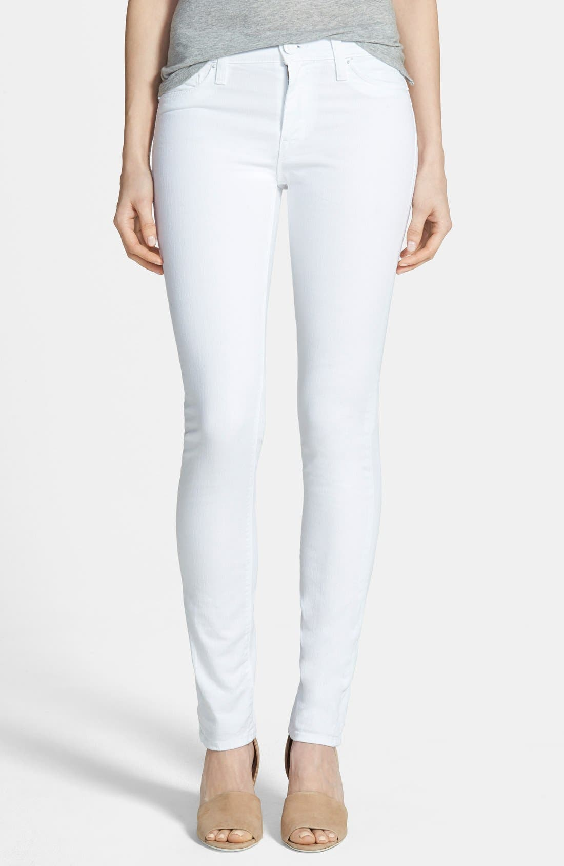 'Shine' Mid Rise Skinny Jeans, Main, color, 100