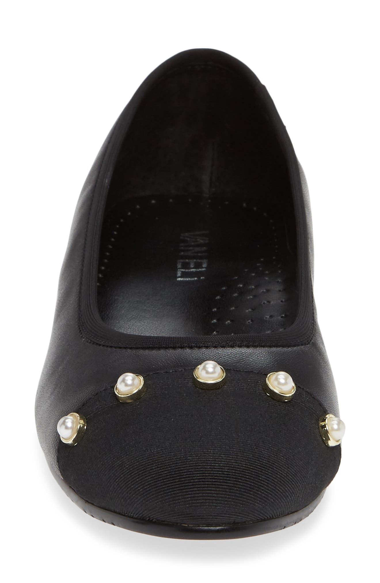 Umber Embellished Cap Toe Flat,                             Alternate thumbnail 4, color,                             BLACK NAPPA