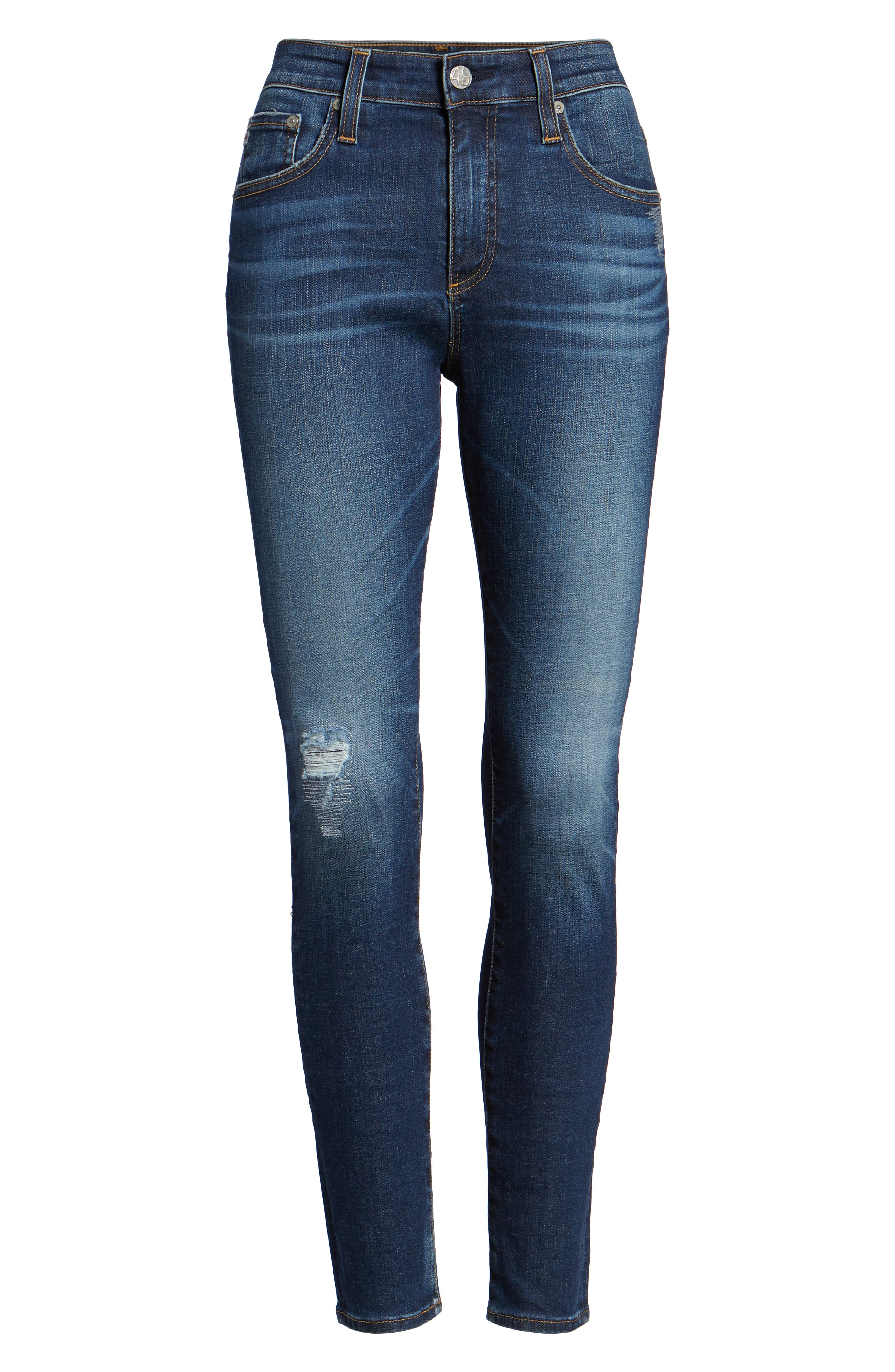 The Farrah High Waist Ankle Skinny Jeans,                             Alternate thumbnail 7, color,                             11Y SHIFTED MENDED