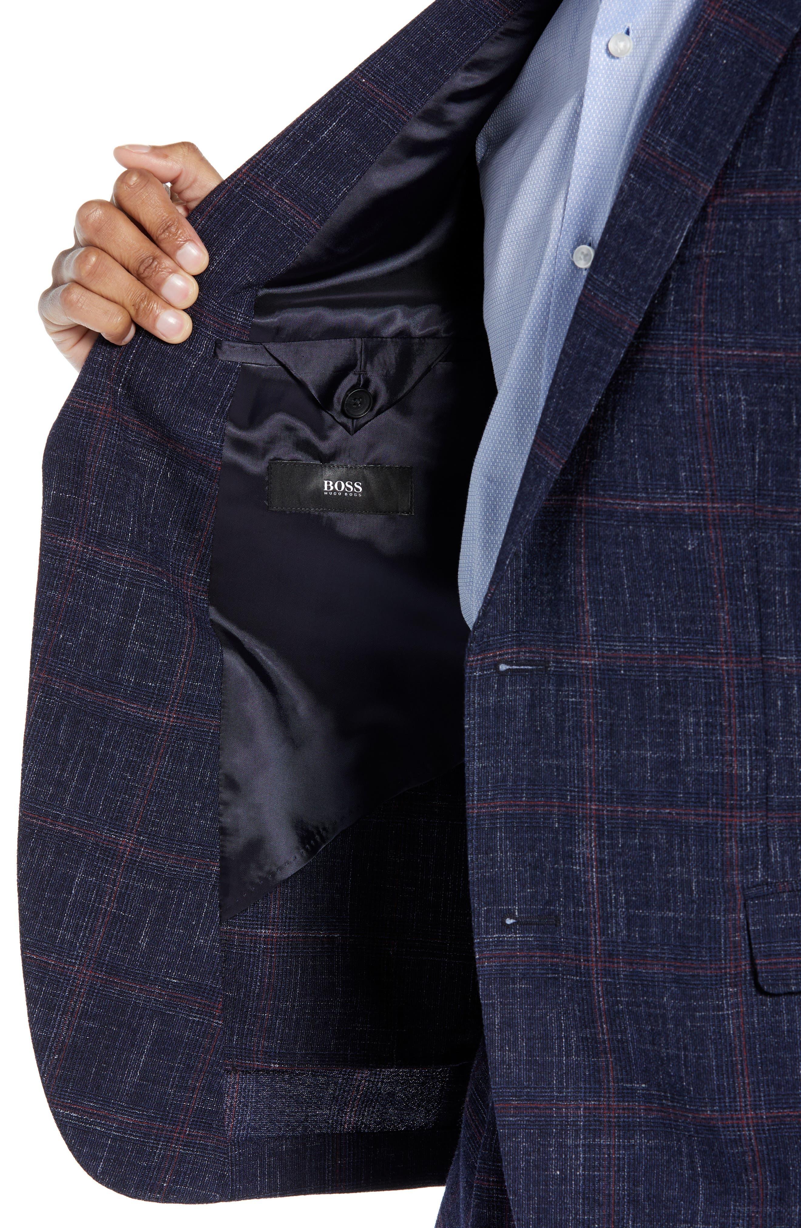Nobis Trim Fit Plaid Wool Blend Sport Coat,                             Alternate thumbnail 4, color,                             DARK BLUE
