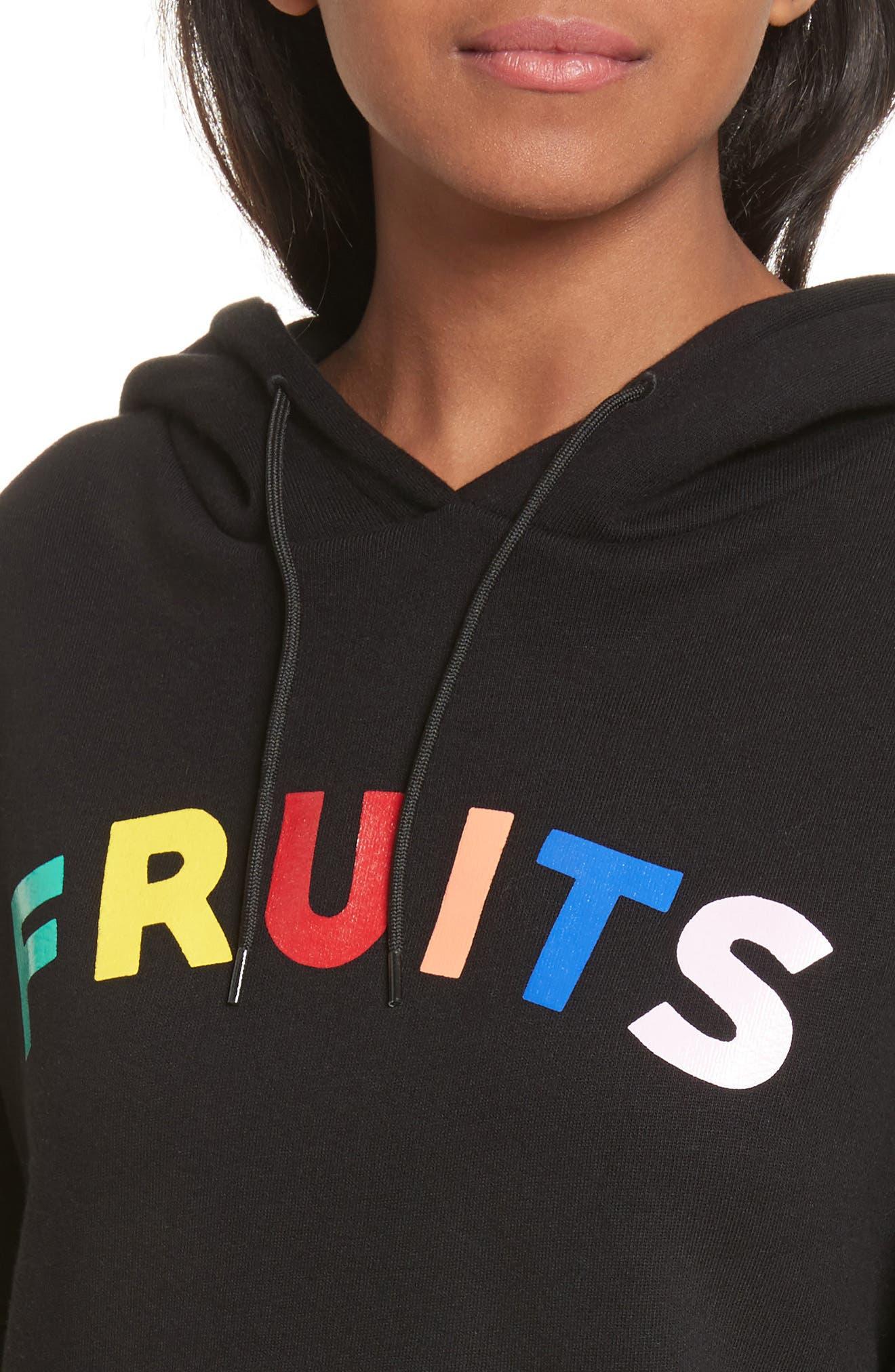 être cécile Fruits Crop Oversize Hoodie,                             Alternate thumbnail 4, color,                             001
