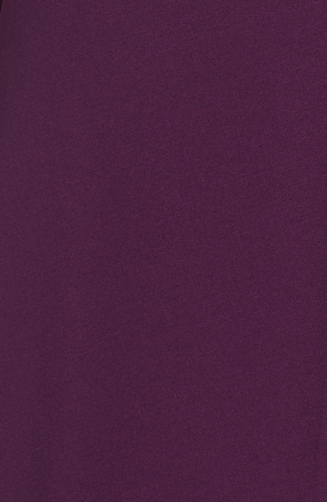 JULIA JORDAN,                             Ruched Stretch Crepe Fit & Flare Dress,                             Alternate thumbnail 7, color,                             PLUM