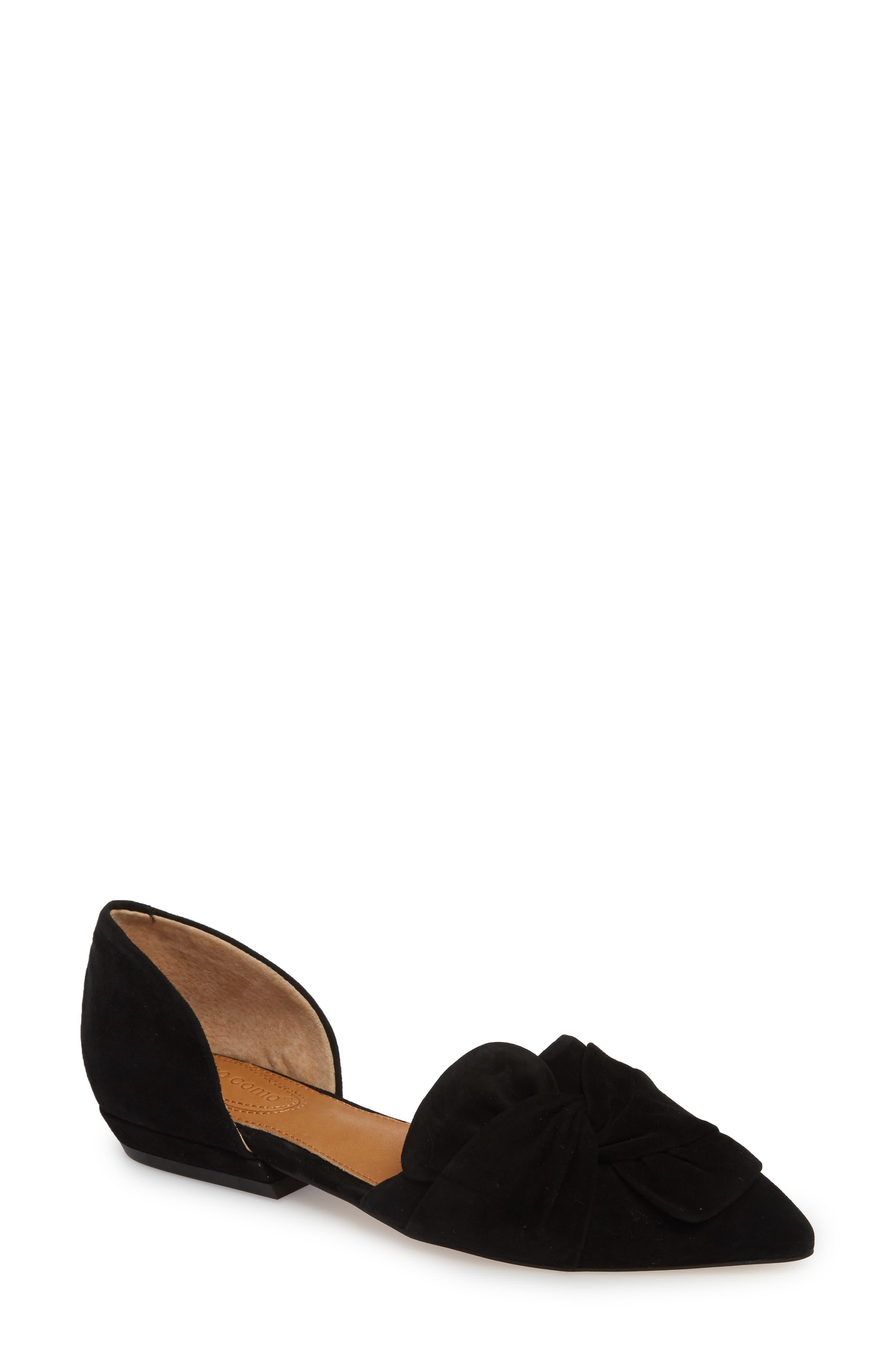 Mollie d'Orsay Flat,                         Main,                         color, BLACK SUEDE