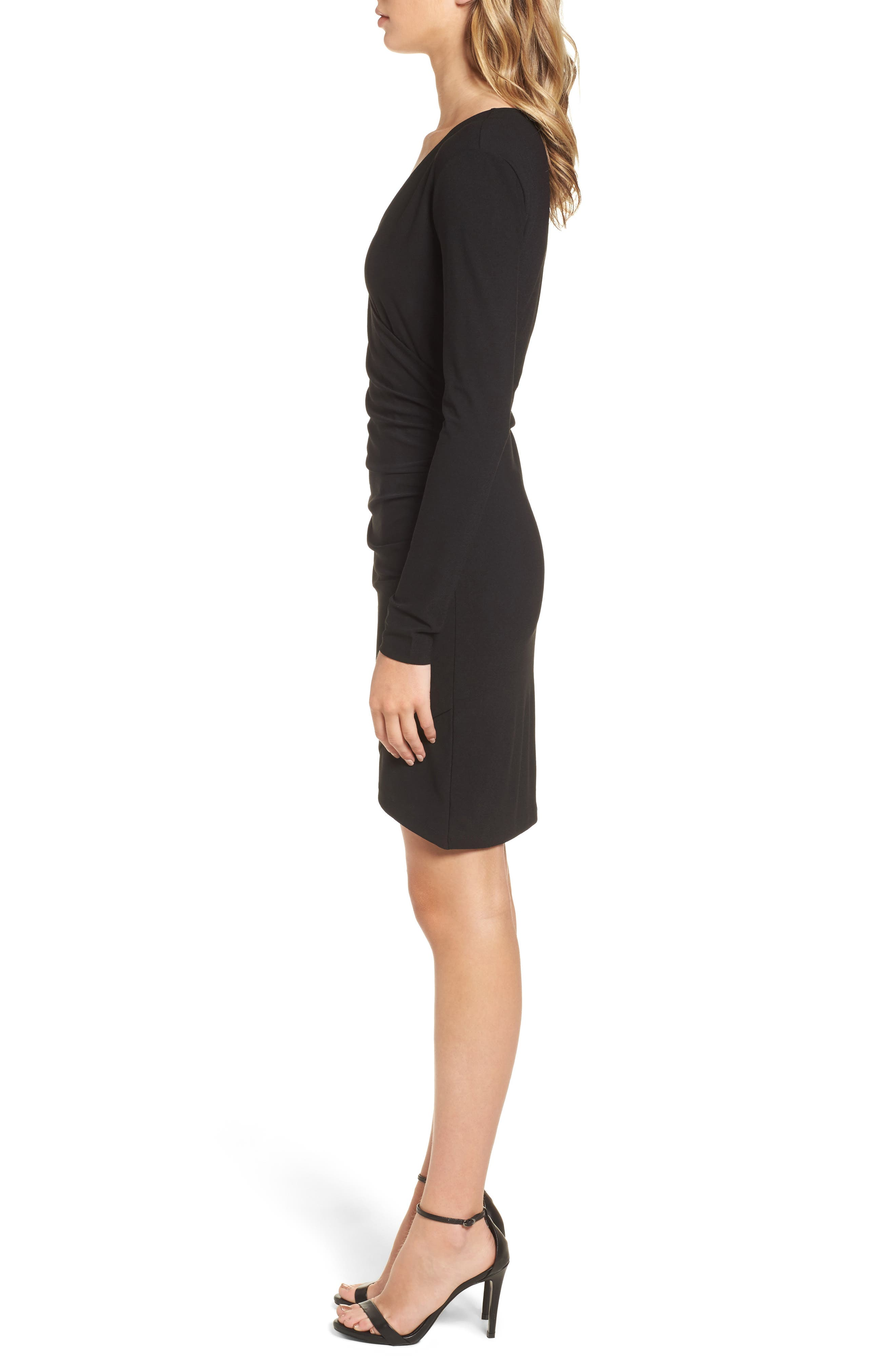 Ruched Sheath Dress,                             Alternate thumbnail 3, color,                             001