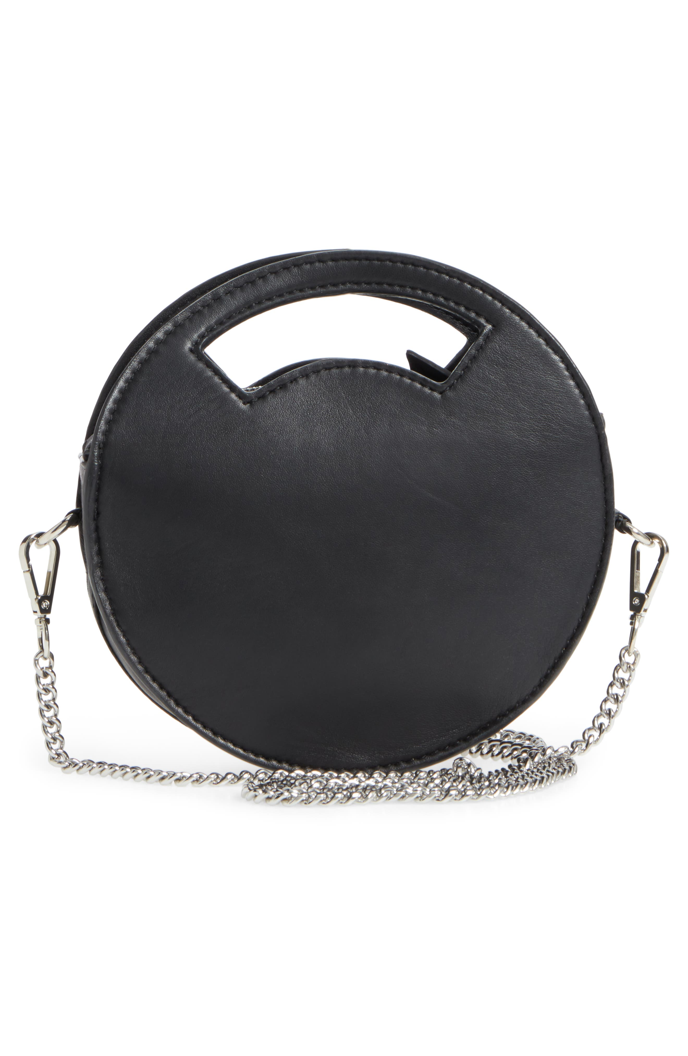 Premium Leather Mini Circle Crossbody Bag,                             Alternate thumbnail 3, color,