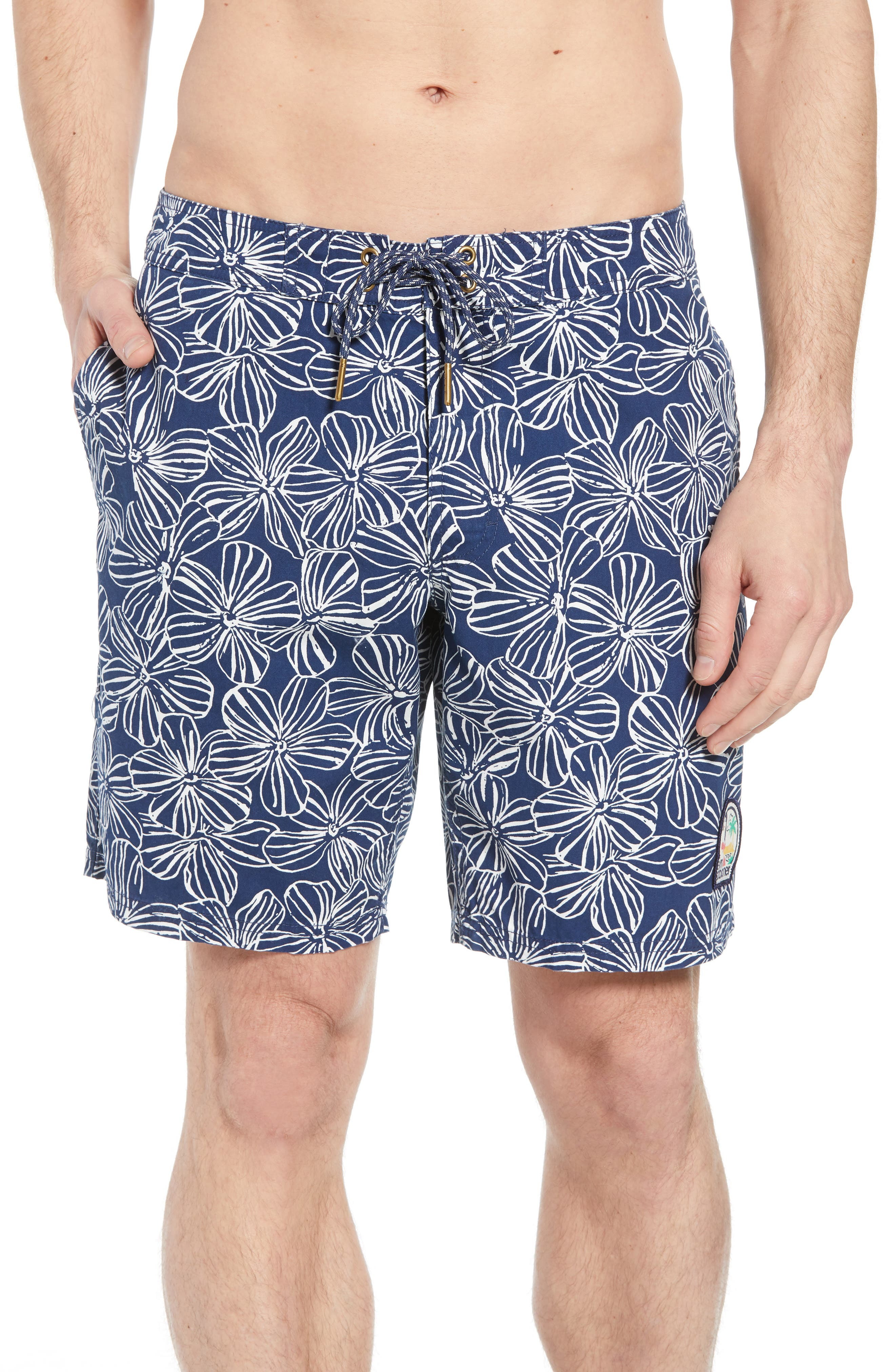 Mala Melia Regular Fit Board Shorts,                             Main thumbnail 1, color,                             BLUE