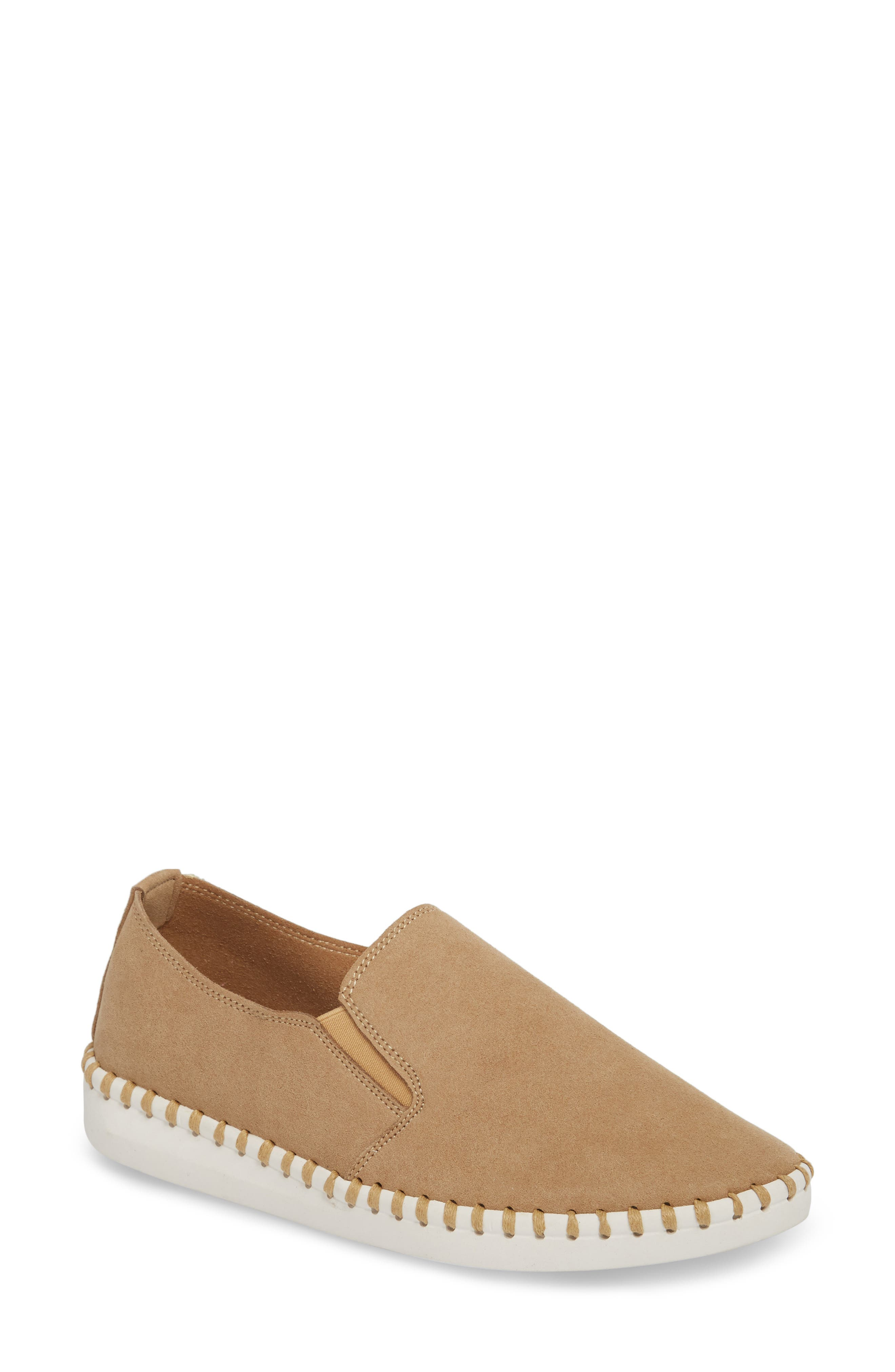 Salinas Waterproof Slip-On Sneaker,                             Main thumbnail 1, color,                             TAN FABRIC