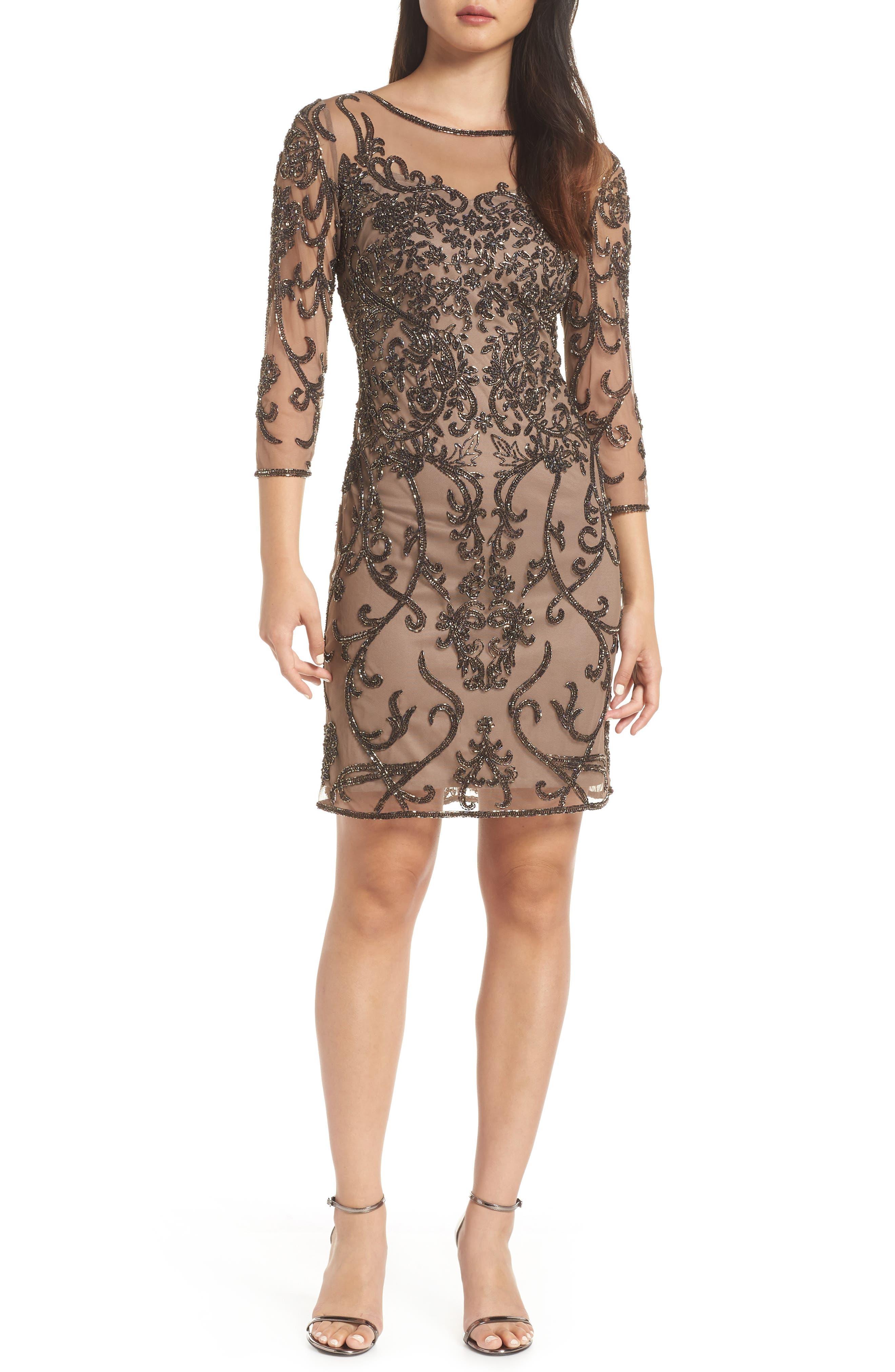 Embellished Mesh Sheath Dress,                         Main,                         color, MOCHA