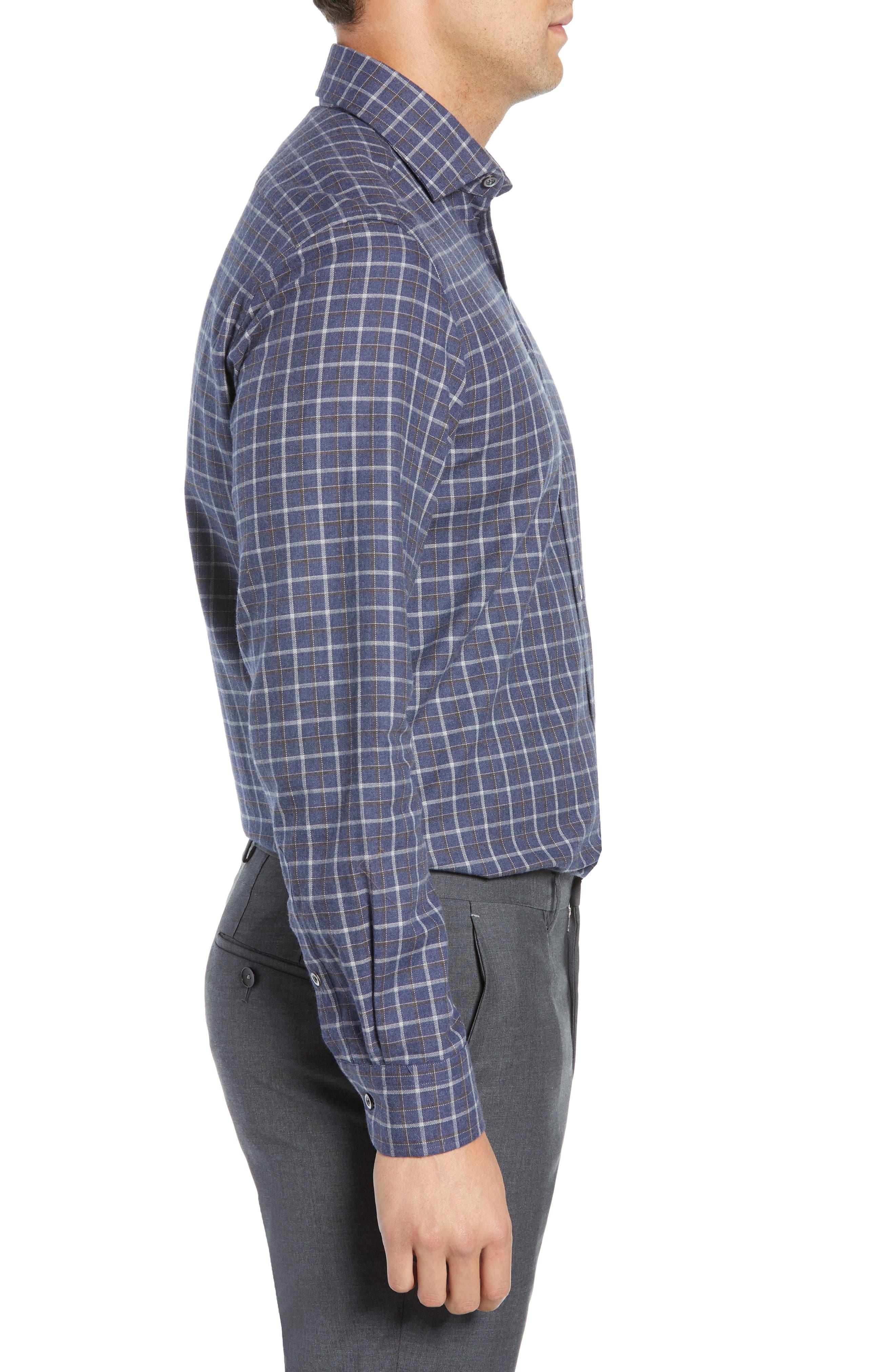 Slim Fit Check Dress Shirt,                             Alternate thumbnail 4, color,                             NAVY