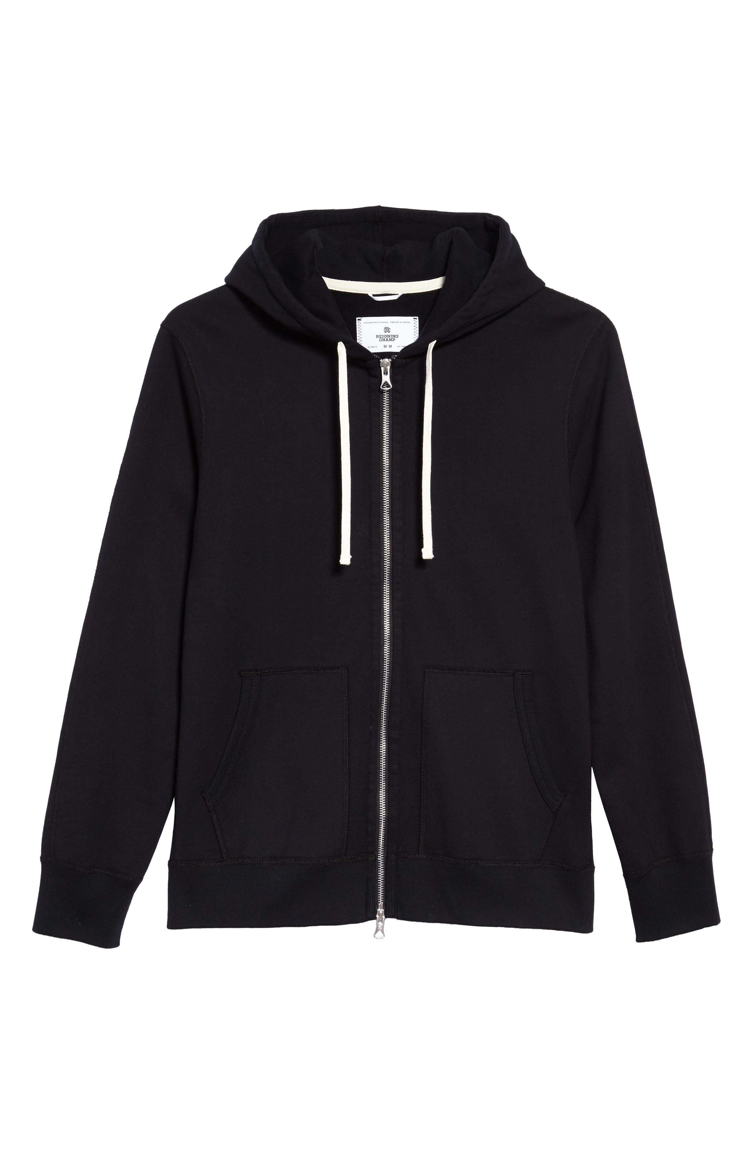 Core Zip Front Hoodie,                             Alternate thumbnail 2, color,                             BLACK