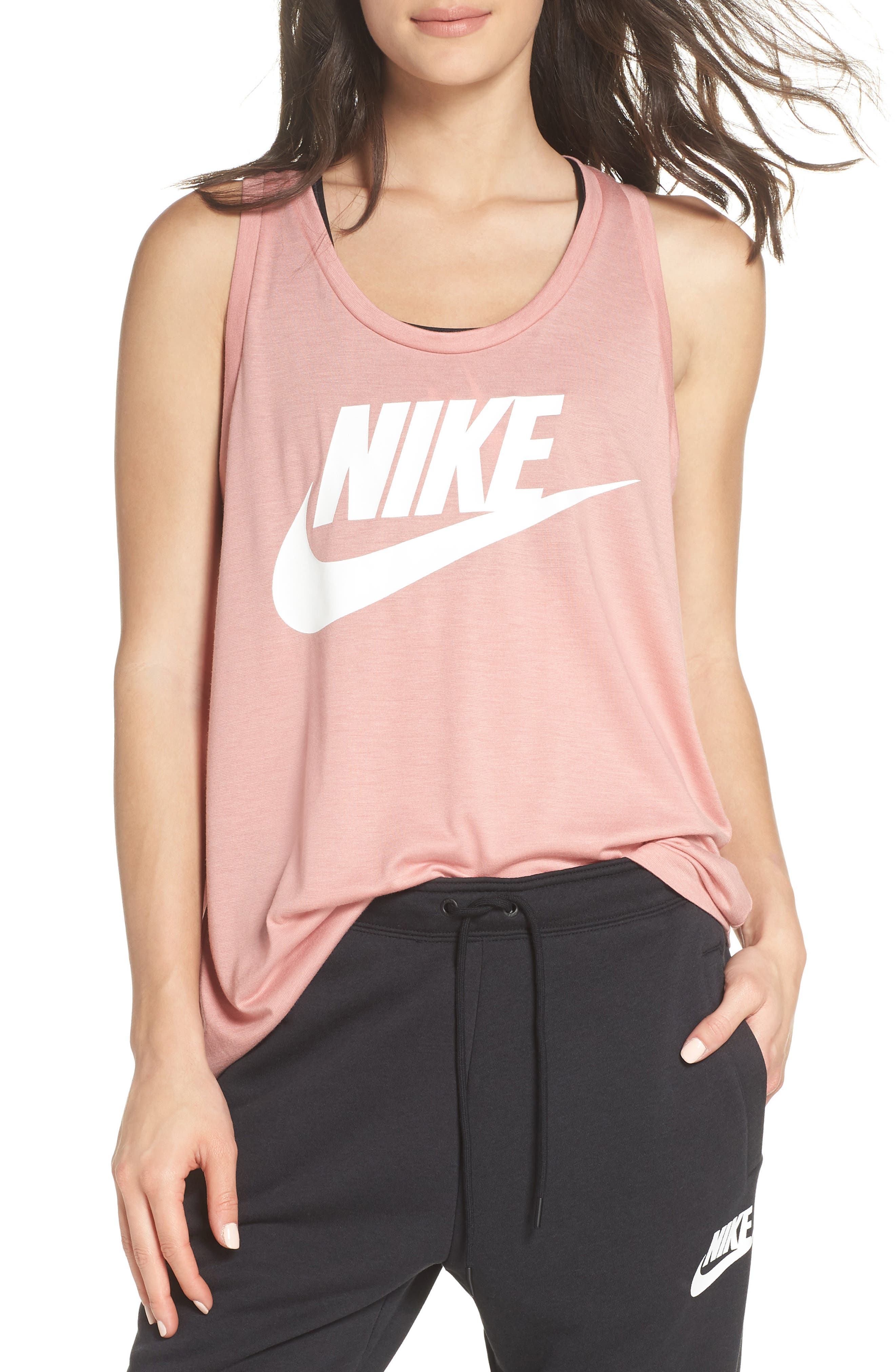 Essential Logo Tank,                             Main thumbnail 1, color,                             RUST PINK/ RUST PINK/ WHITE