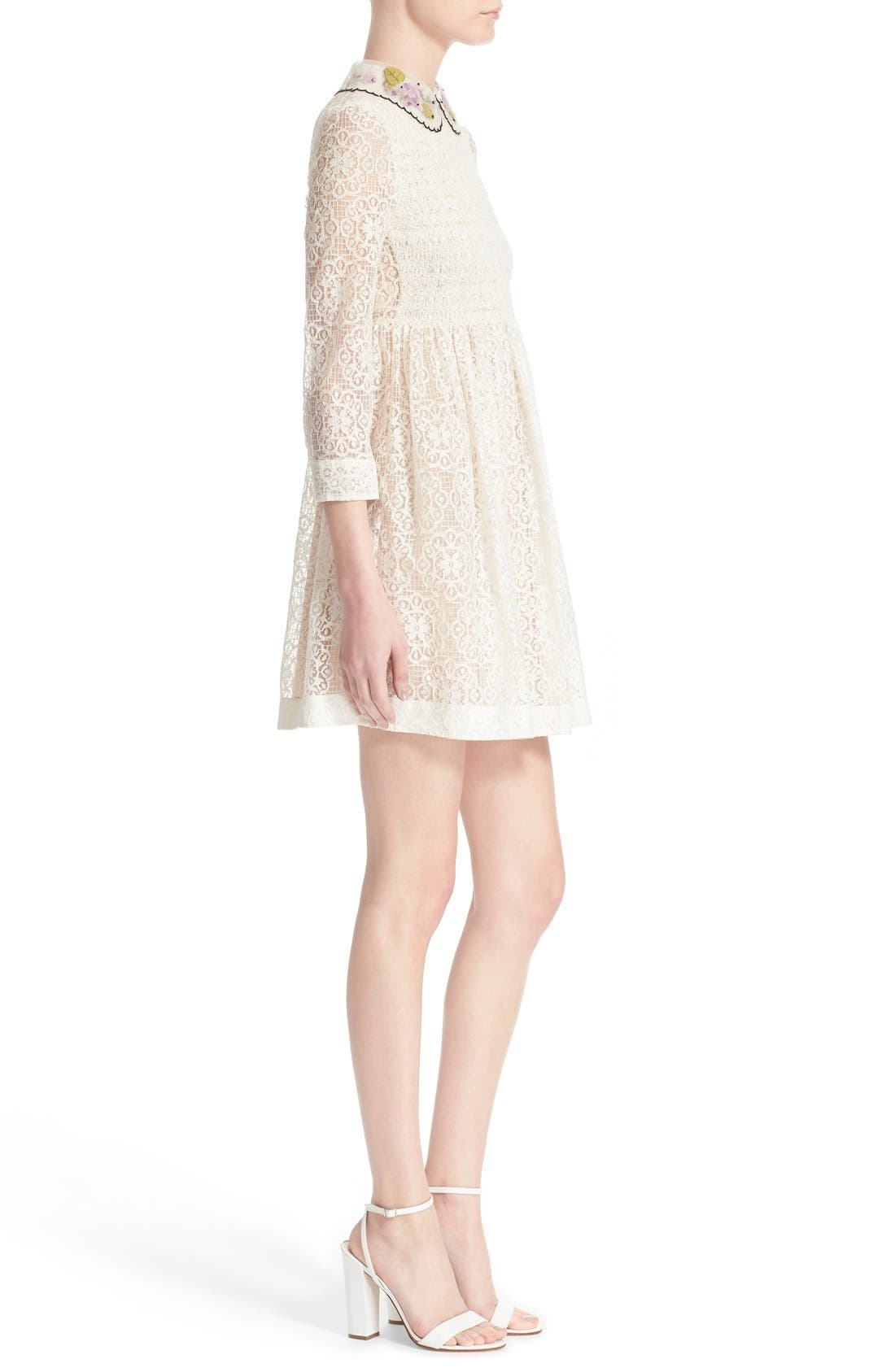 RED VALENTINO,                             Smocked Bodice Lace Dress,                             Alternate thumbnail 5, color,                             900
