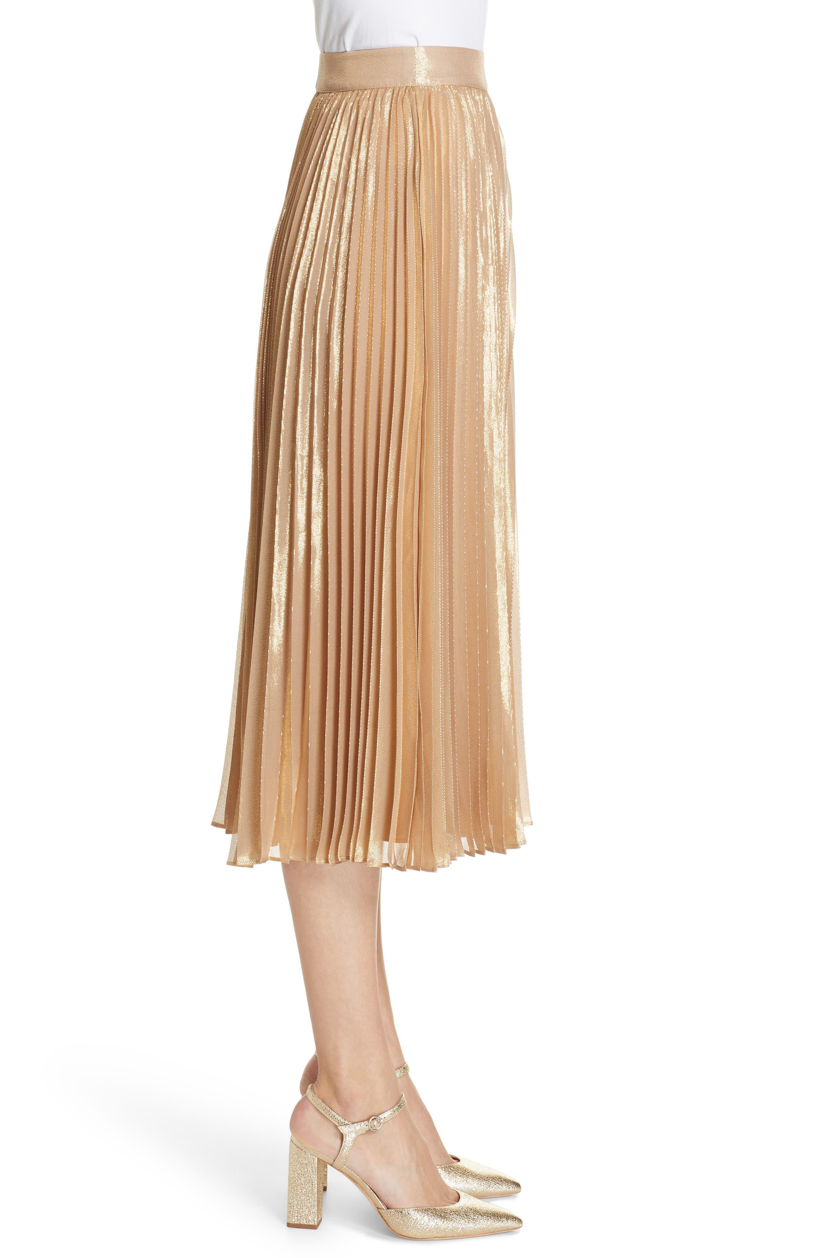 pleat metallic pleat midi skirt,                             Alternate thumbnail 3, color,                             ROASTED PEANUT