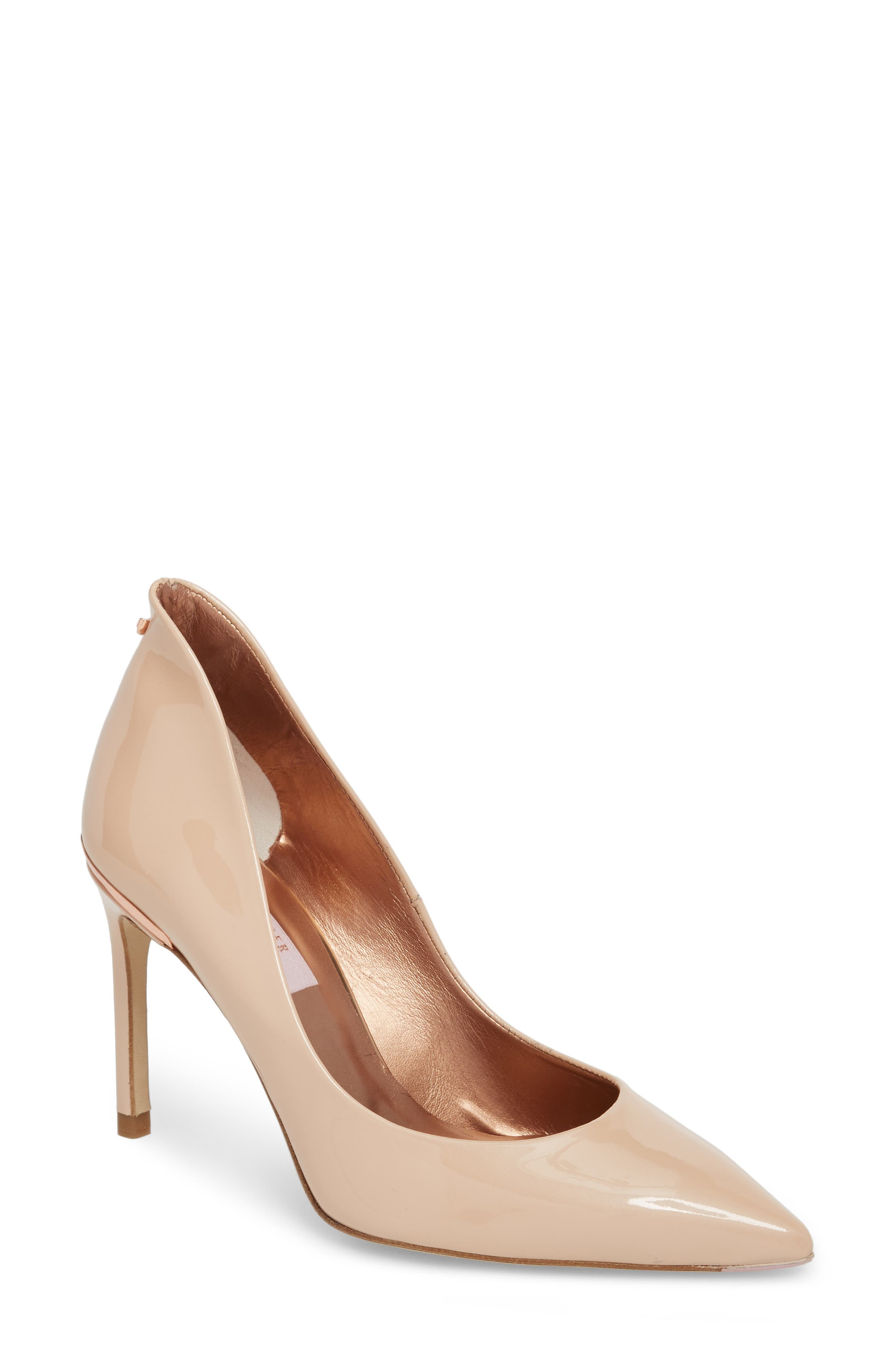 Savio Pump,                             Main thumbnail 1, color,                             NUDE PATENT LEATHER