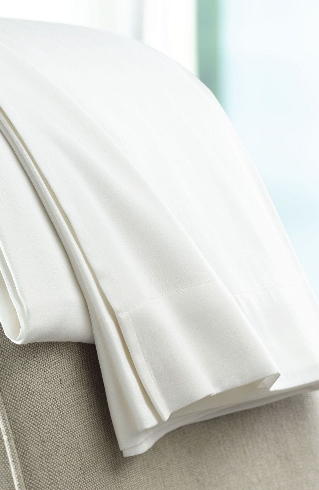 300 Thread Count Luxe Flat Sheet,                             Main thumbnail 1, color,                             WHI