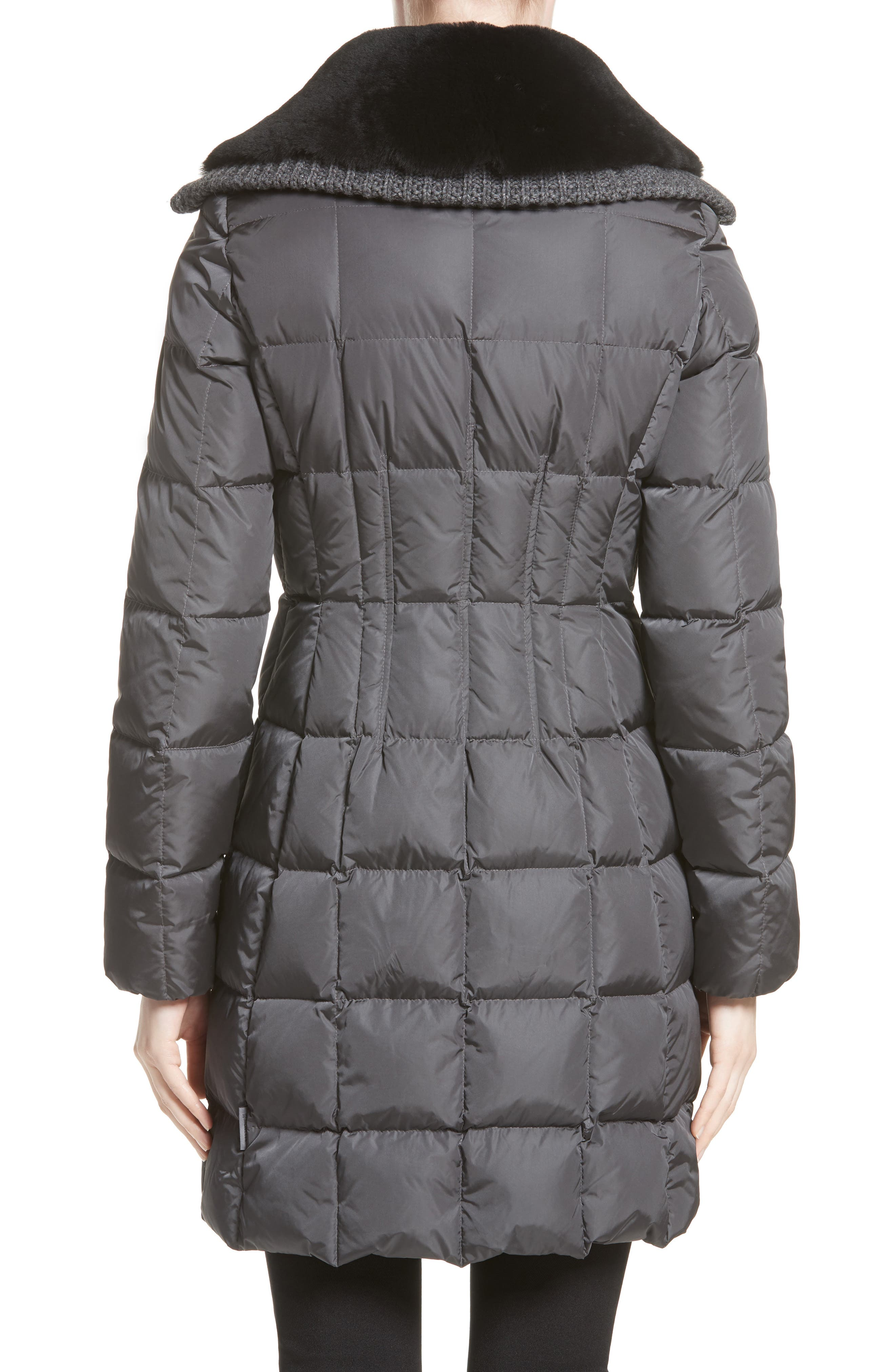 Davidia Quilted Down Coat with Removable Genuine Lamb Fur Collar,                             Alternate thumbnail 2, color,                             GREY