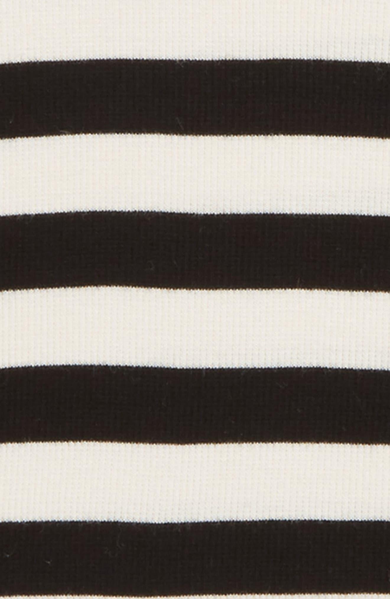 Fitted Rib Tee,                             Alternate thumbnail 2, color,                             IVORY EGRET- BLACK STRIPE