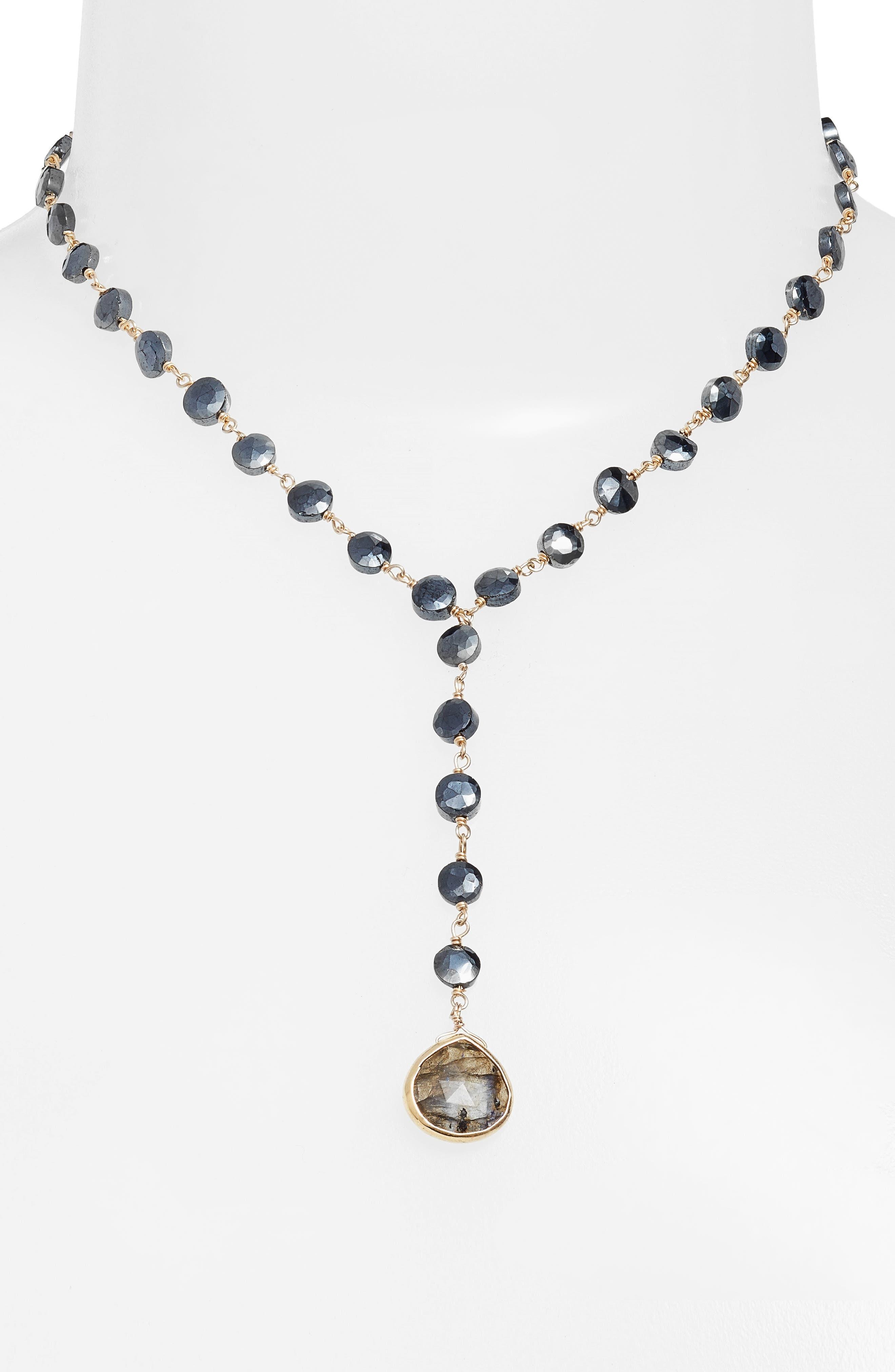 ELA RAE,                             Yaeli Coin Necklace,                             Alternate thumbnail 2, color,                             BLACK SPINEL/ LABRADORITE
