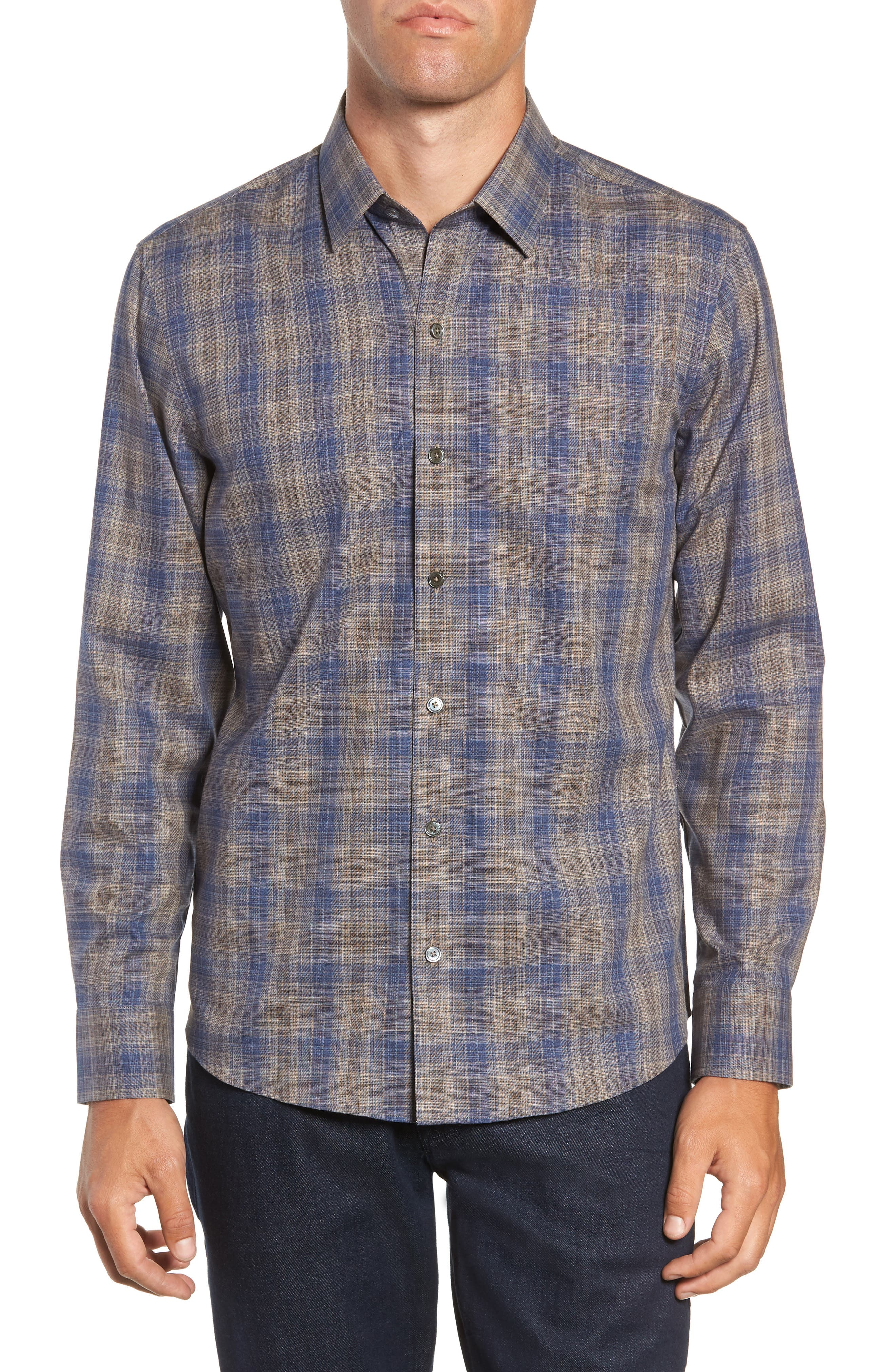 Compton Regular Fit Check Sport Shirt,                         Main,                         color, SAND