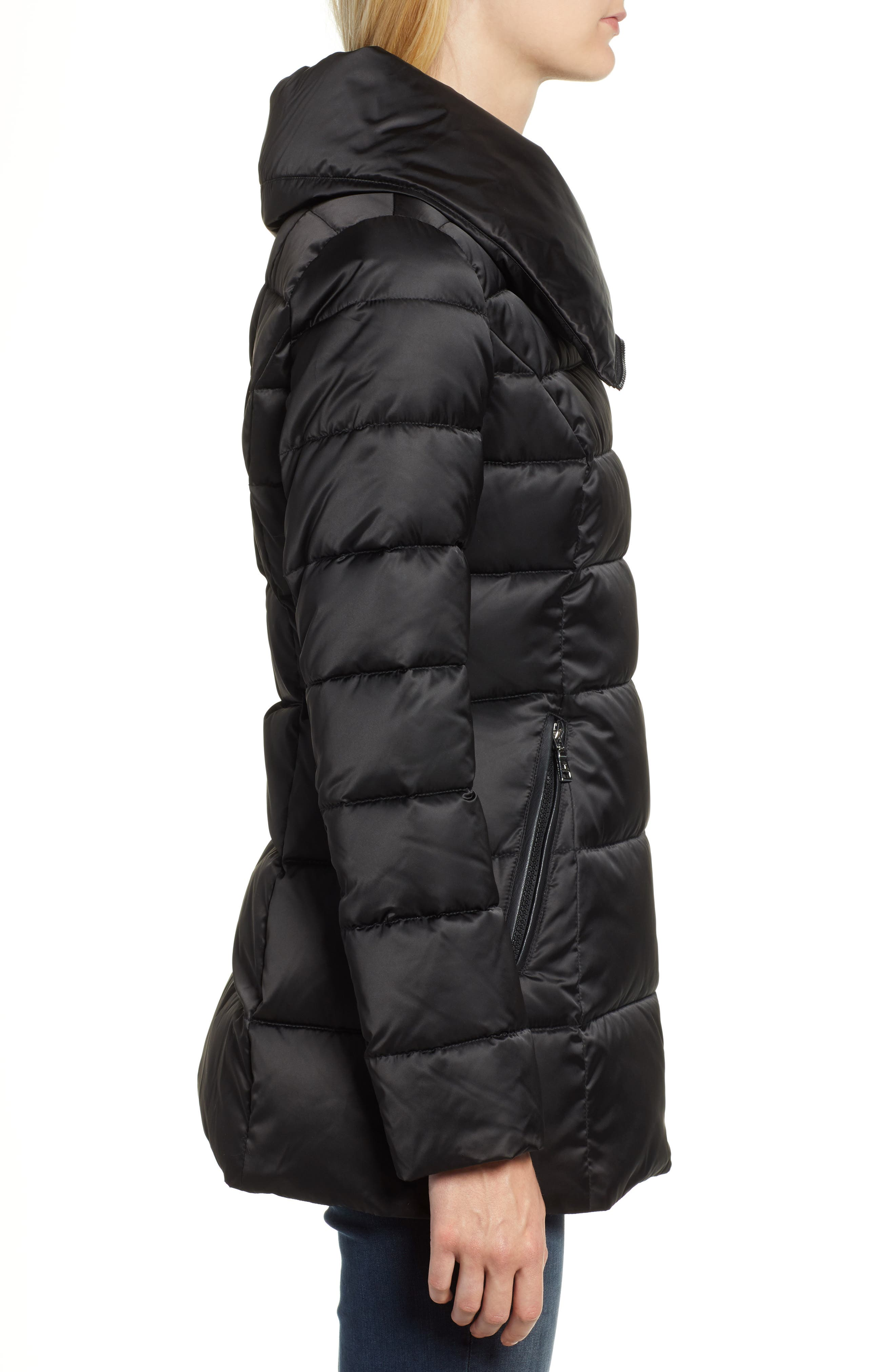 Blair Moto Style Puffer Jacket,                             Alternate thumbnail 3, color,                             BLACK