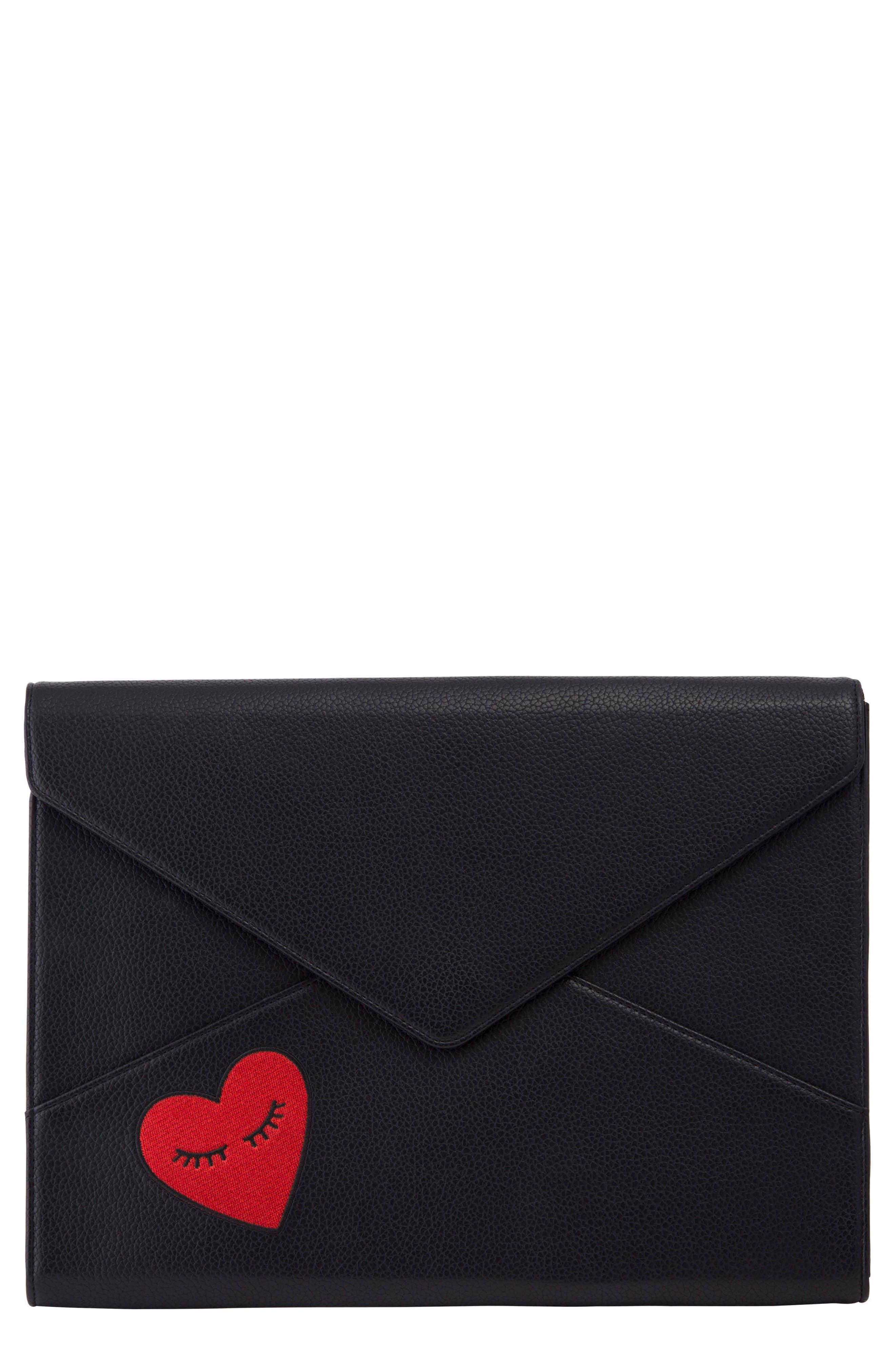 Fancy Heart Faux Leather Laptop Clutch,                             Main thumbnail 1, color,                             001
