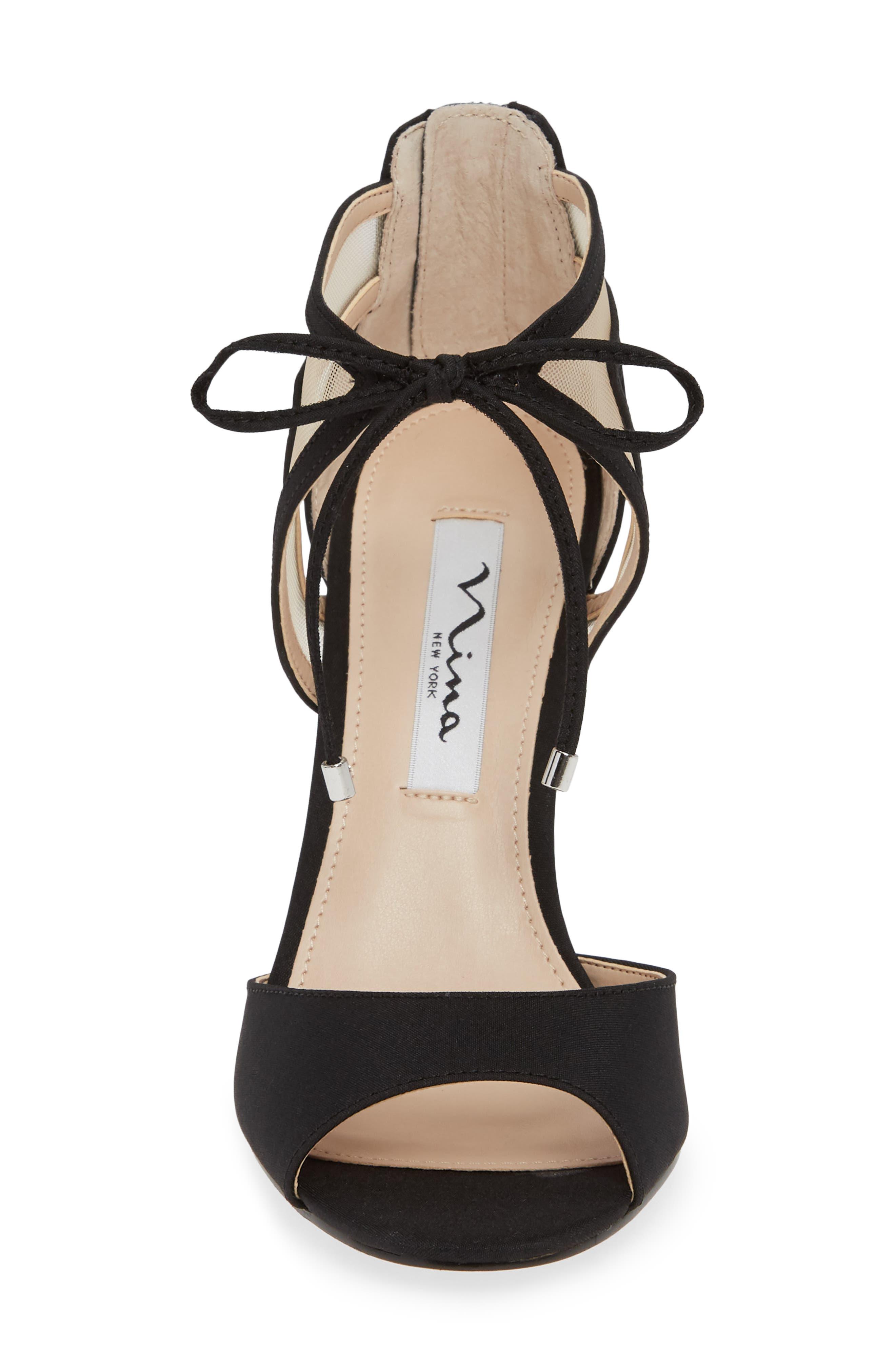 Caleya Ankle Tie Sandal,                             Alternate thumbnail 4, color,                             BLACK CHAMPAGNE