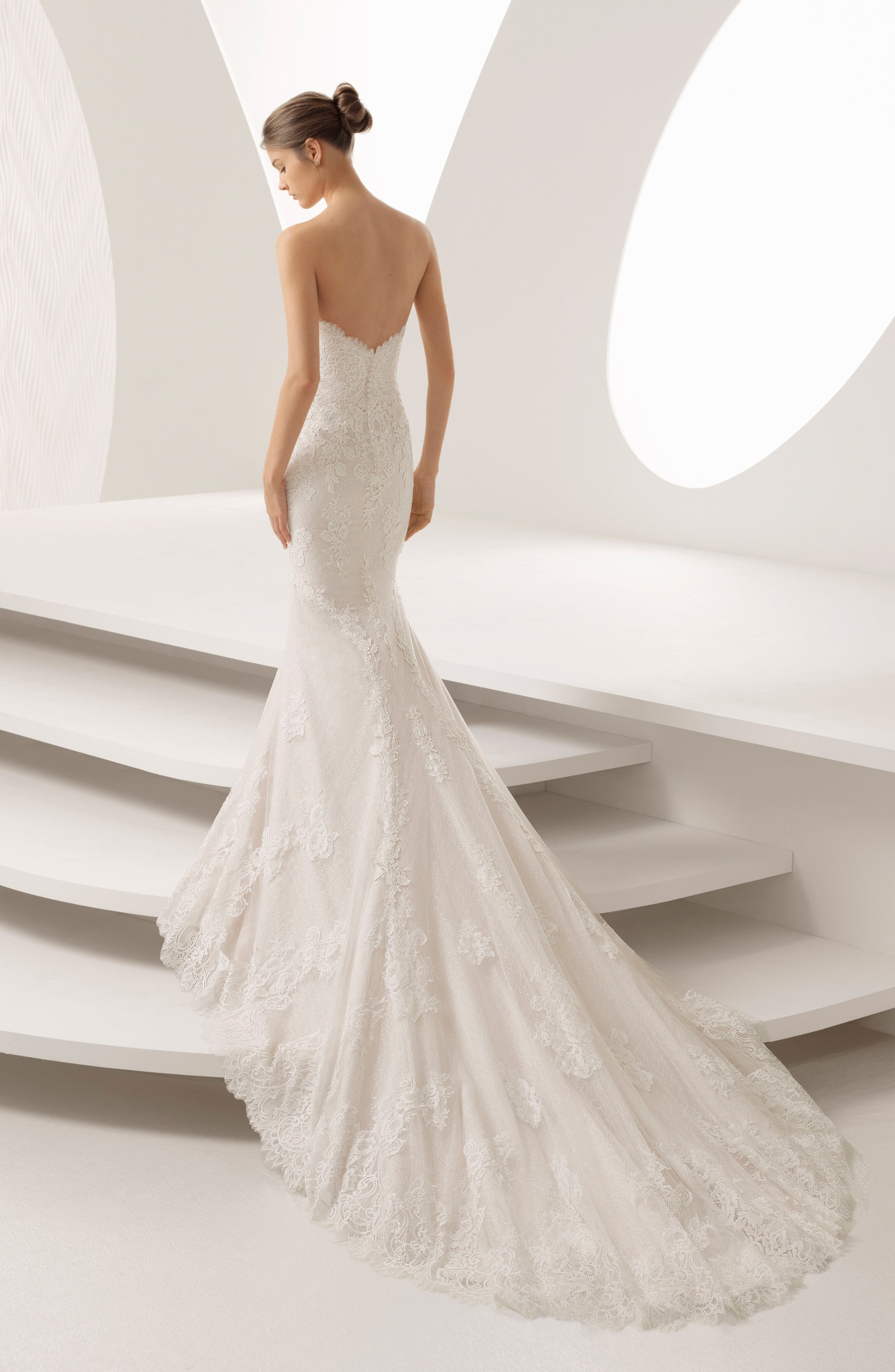 Rosa Clará Abril Strapless Sweetheart Lace Mermaid Gown,                             Alternate thumbnail 2, color,                             NUDE