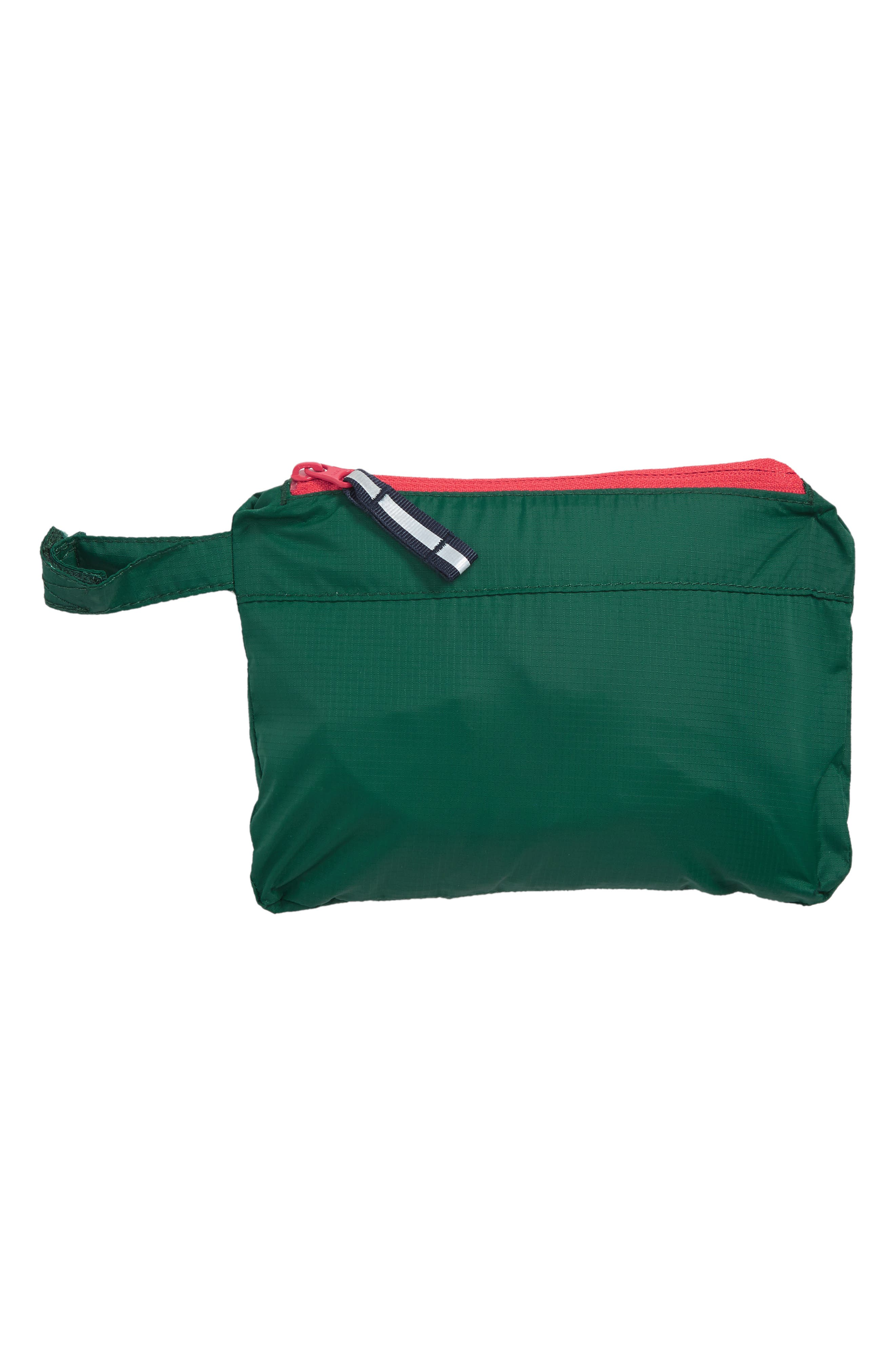 Packaway Rain Jacket,                             Alternate thumbnail 2, color,                             SCOTTS PINE GREEN/ SALSA RED