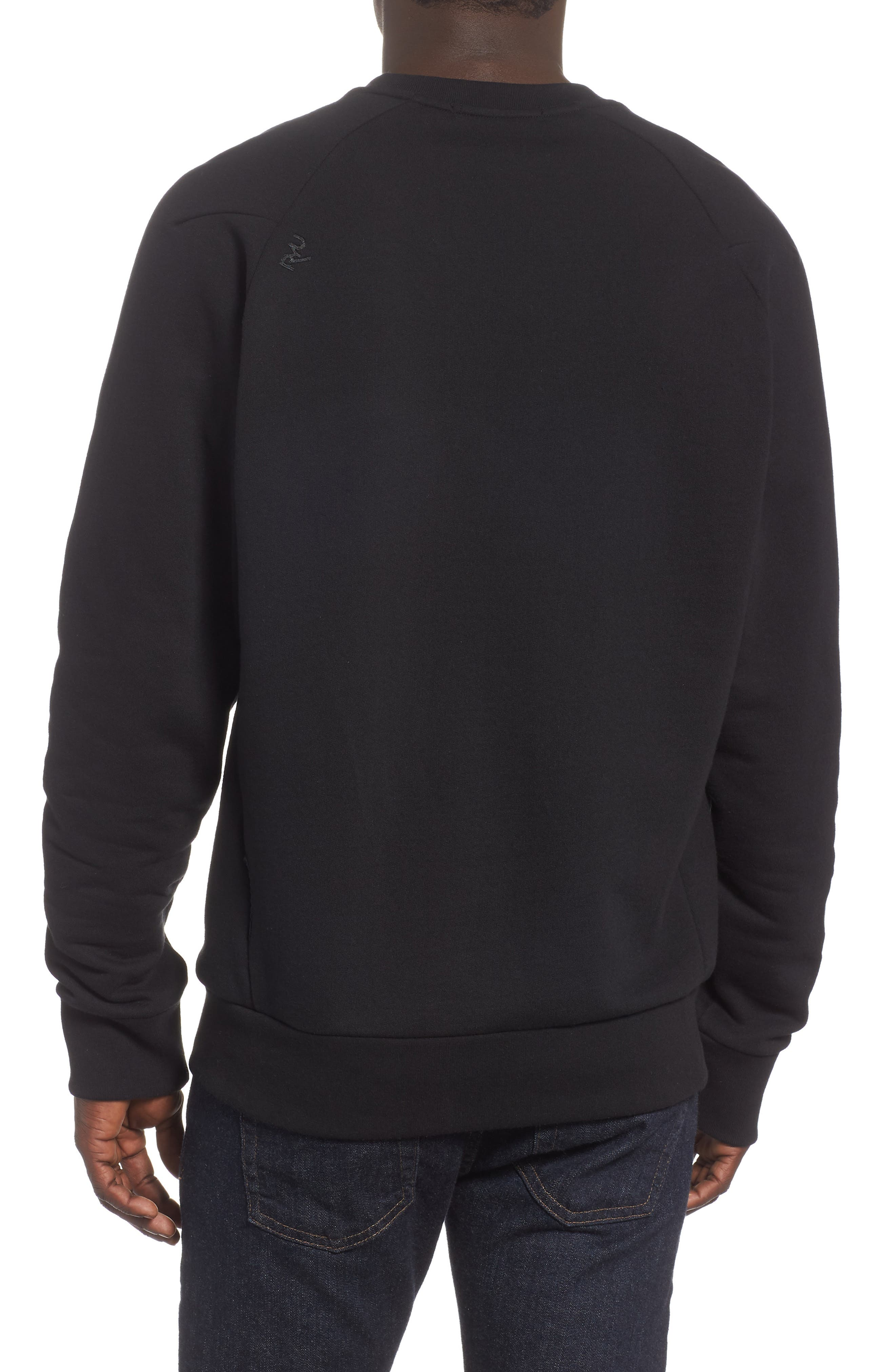 Core Fleece Crewneck,                             Alternate thumbnail 2, color,                             BLACK