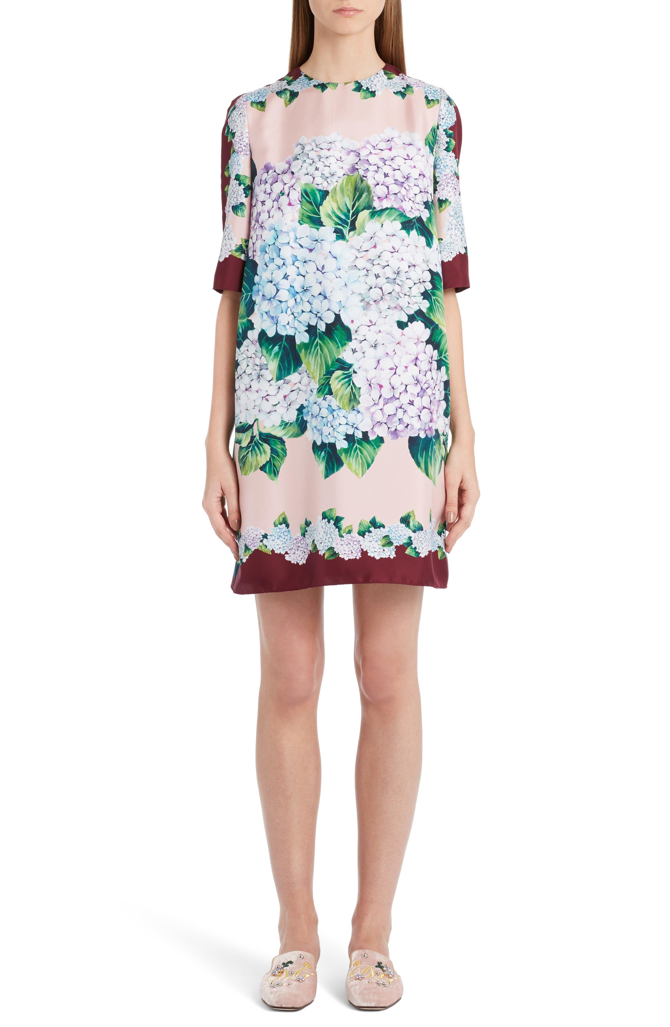 Hydrangea Print Silk Shift Dress,                             Main thumbnail 1, color,