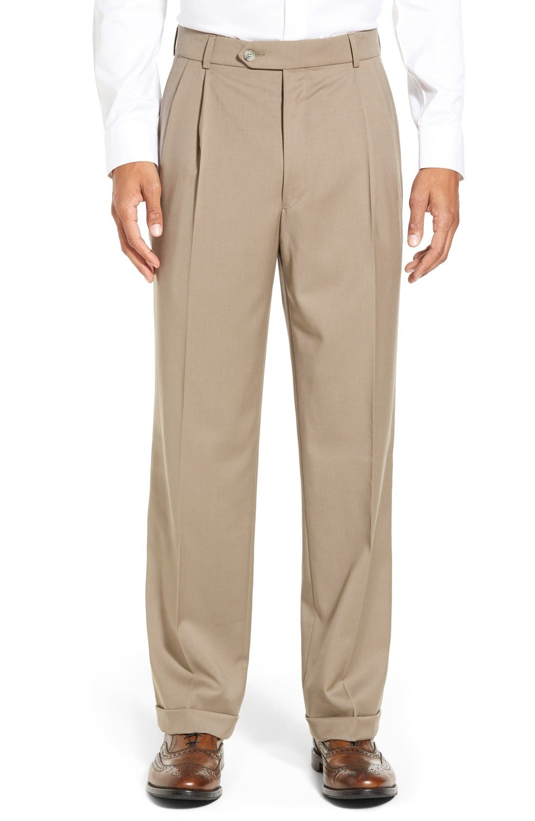 Pleated Solid Wool Trousers,                             Main thumbnail 10, color,