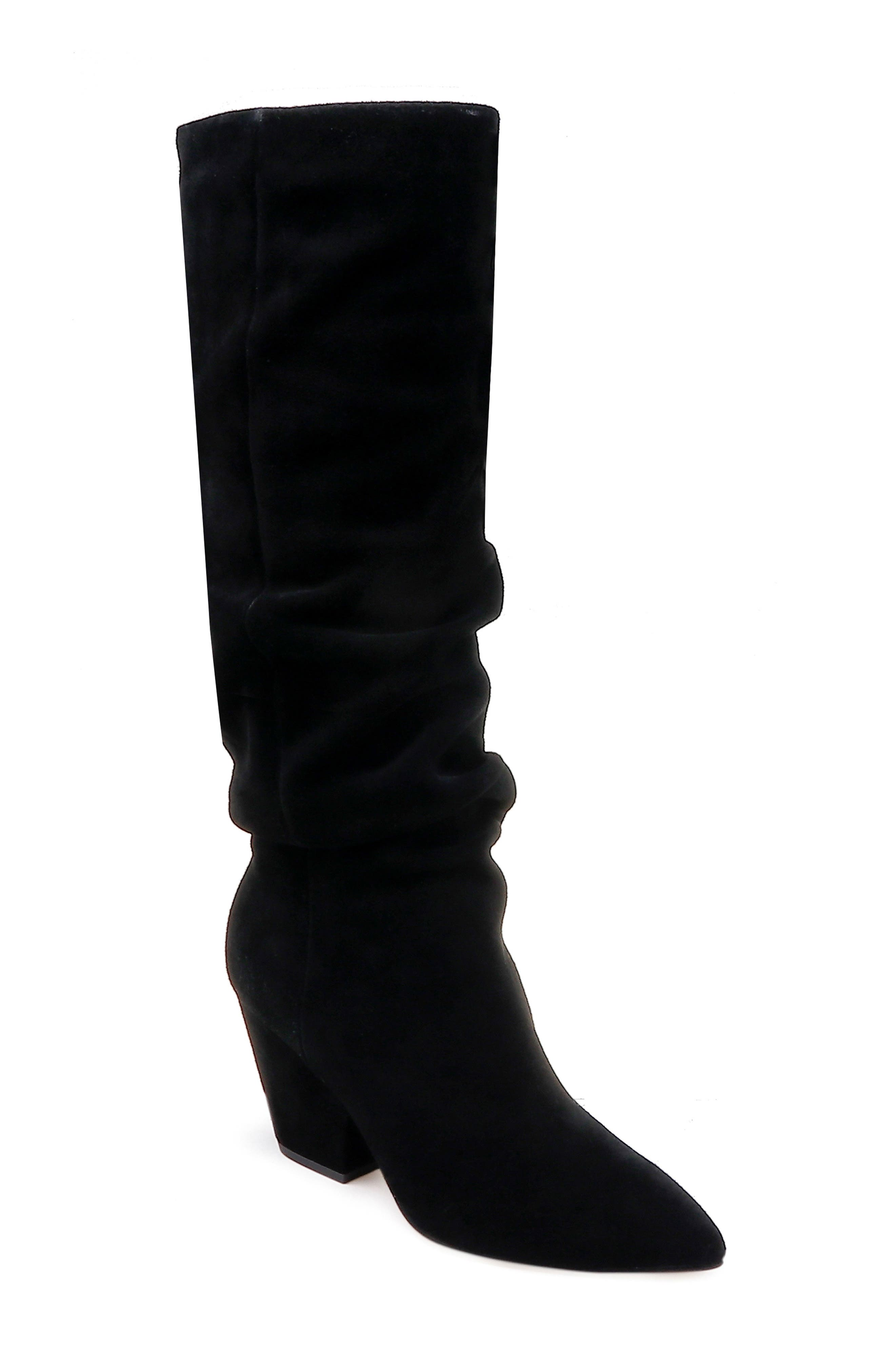 Women'S Clayton Suede Slouchy Boots in Black Suede