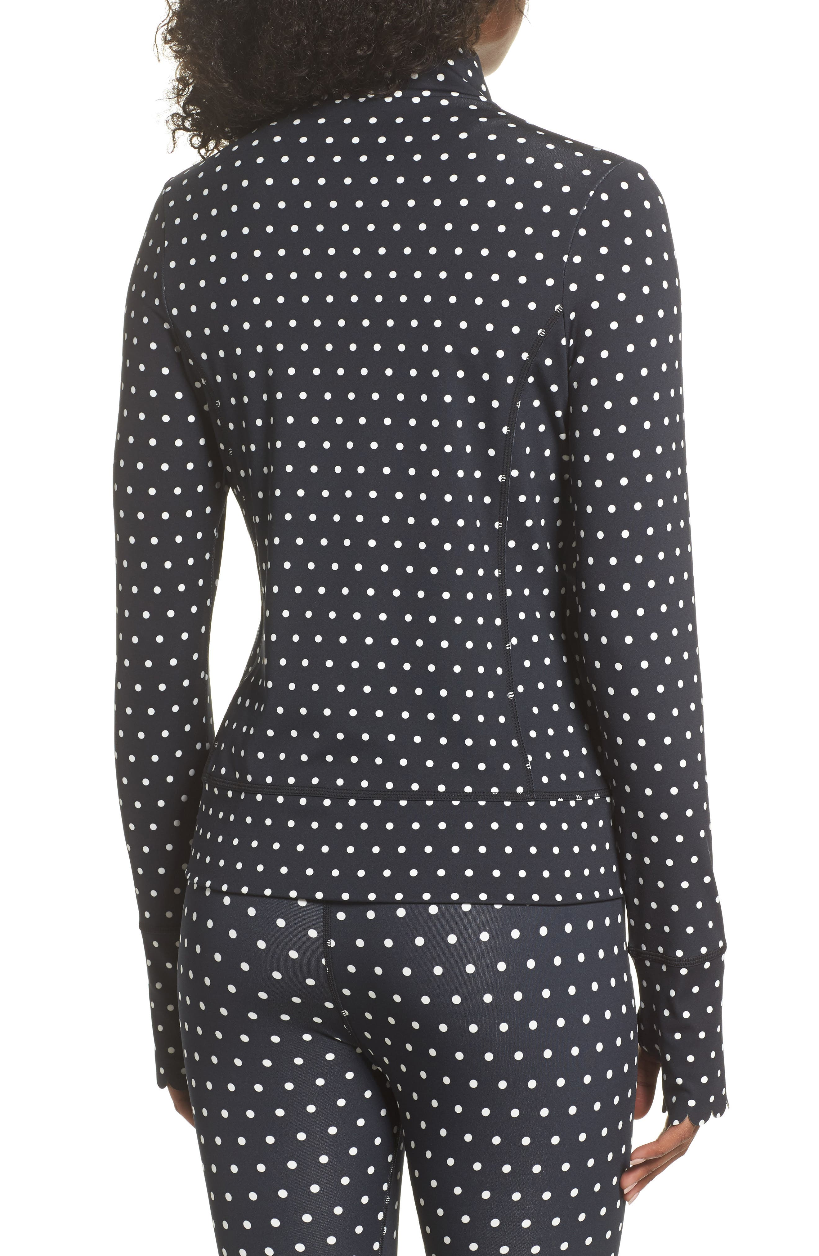 polka dot scallop jacket,                             Alternate thumbnail 2, color,                             BLACK/ CREAM