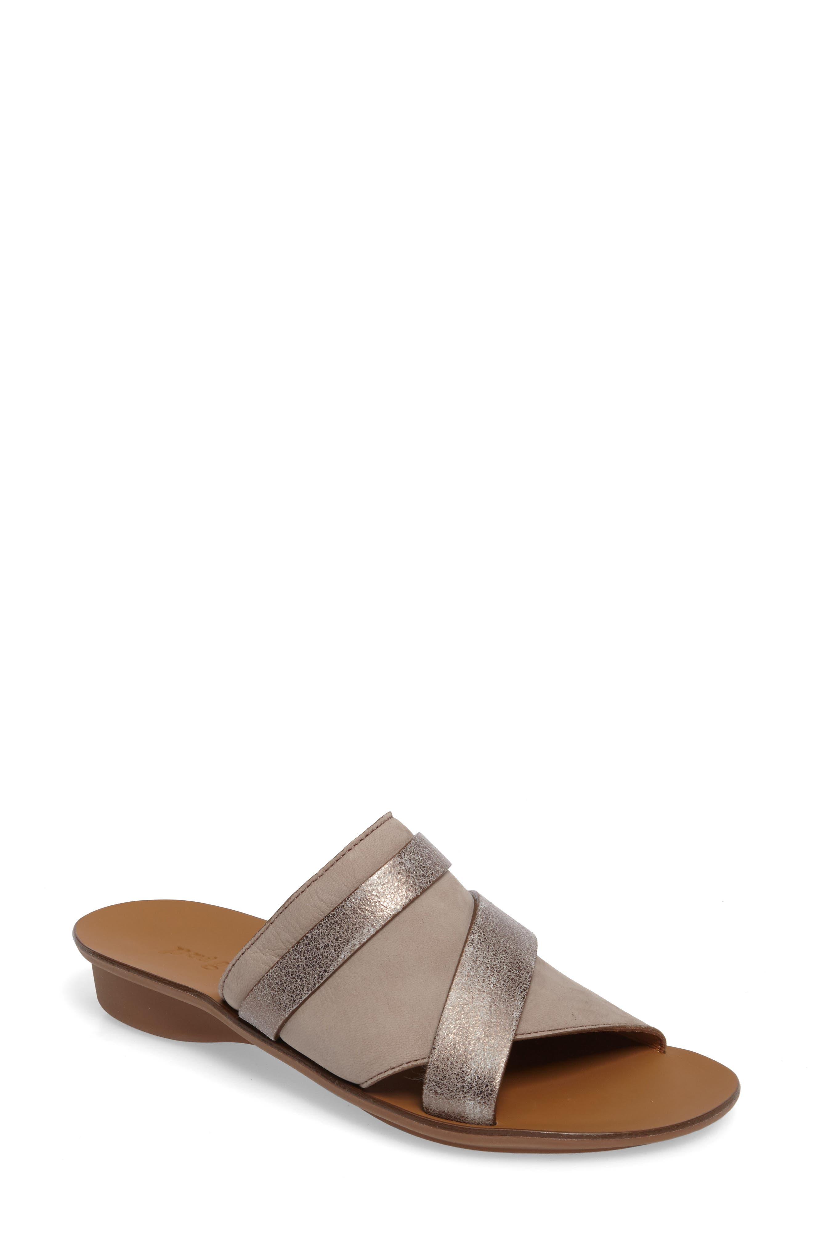'Bayside' Leather Sandal,                             Main thumbnail 1, color,                             GREY