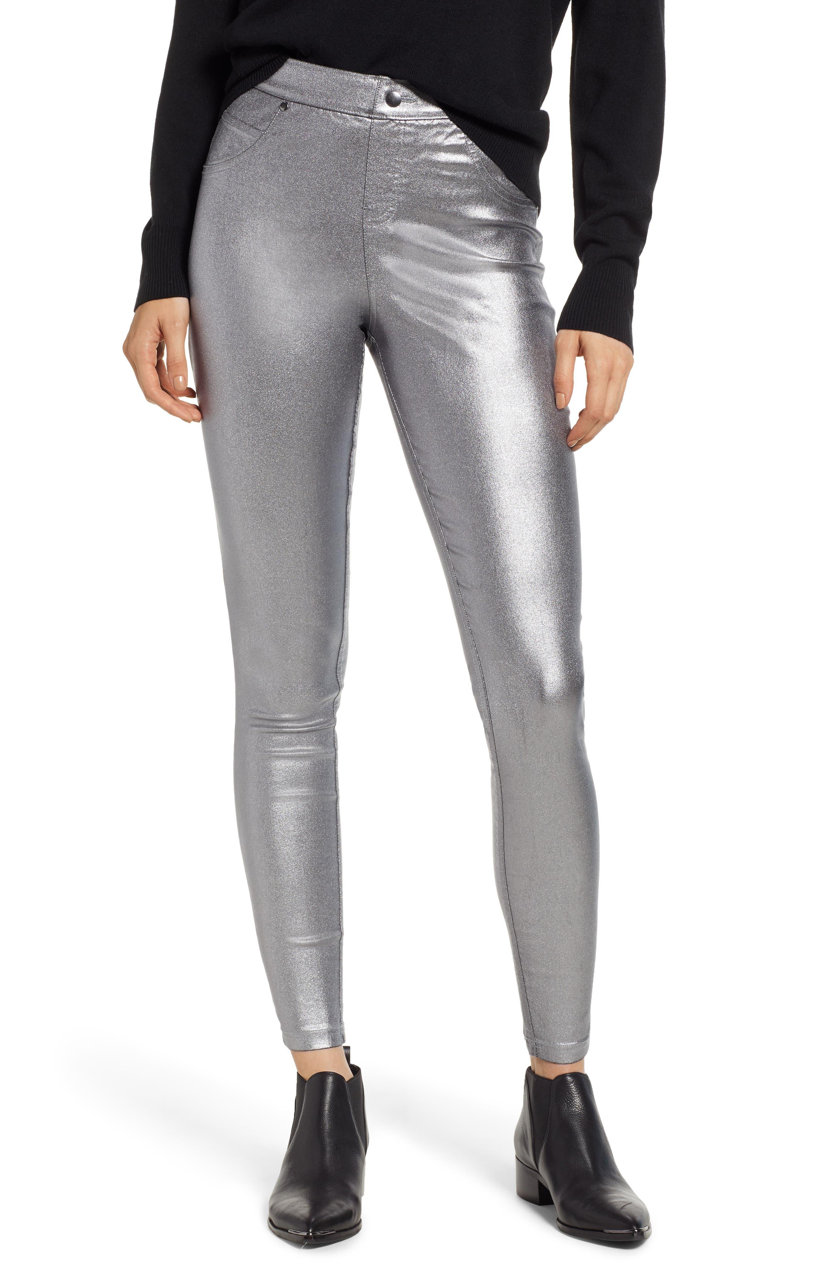 Hue Iridescent Denim Leggings, Grey