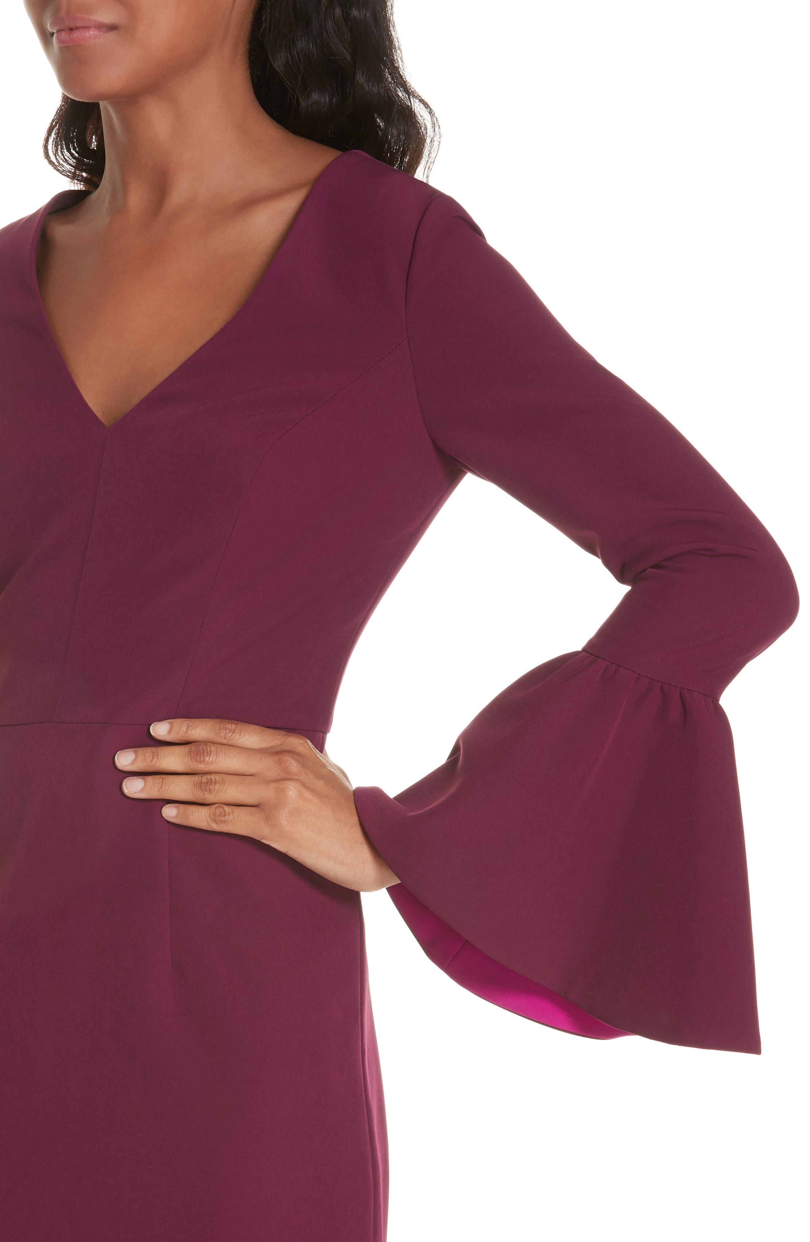 Morgan Italian Cady Bell Sleeve Mini Dress,                             Alternate thumbnail 4, color,                             500