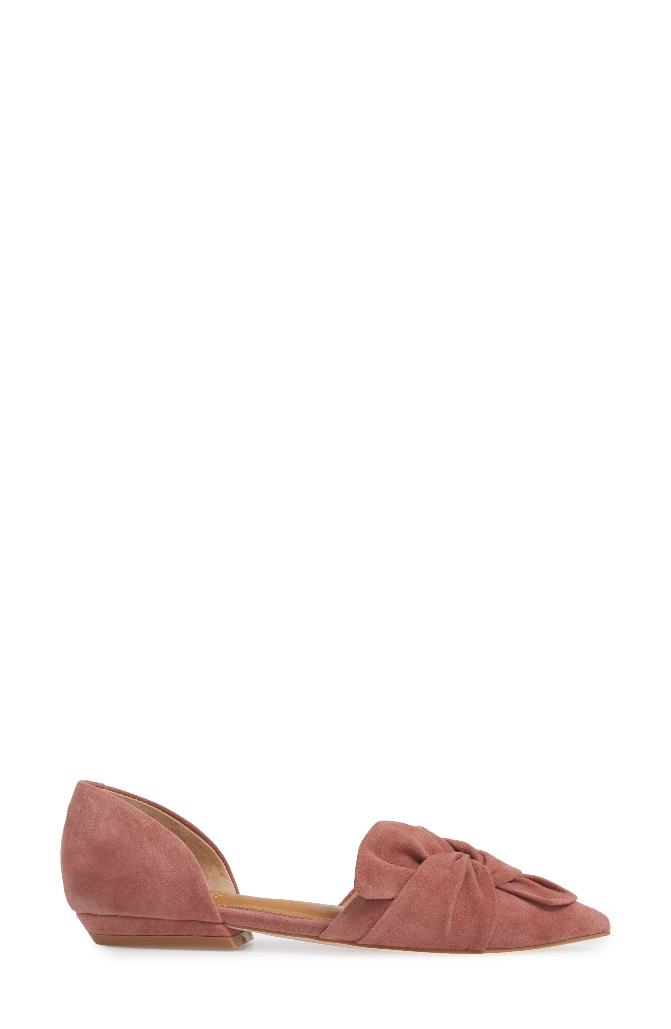 Mollie d'Orsay Flat,                             Alternate thumbnail 3, color,                             OLD ROSE SUEDE