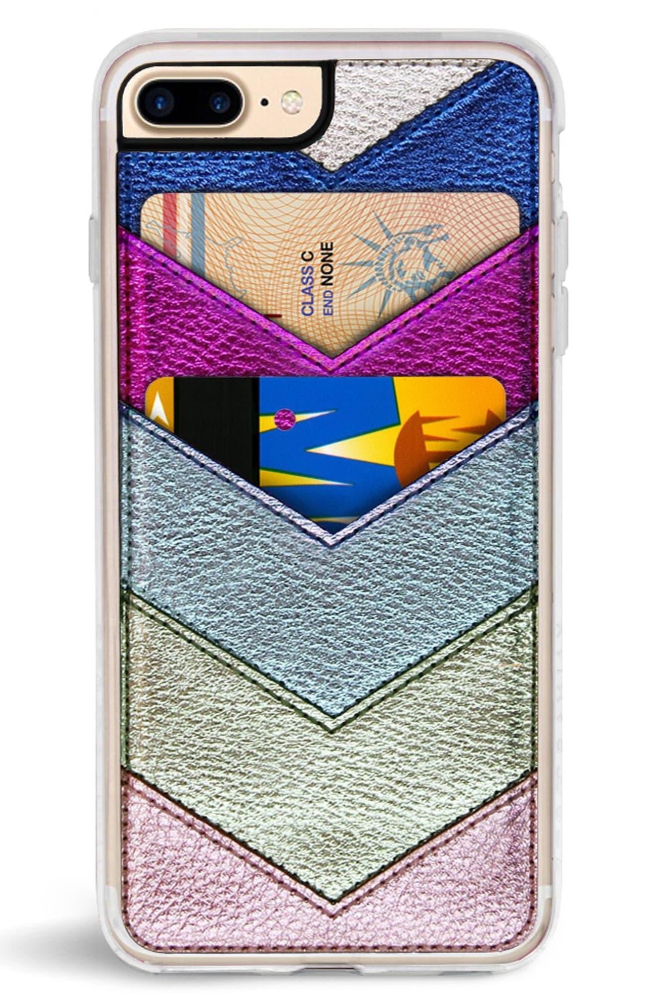 Chevron Faux Leather iPhone 6/6s/7/8 & 6/6s/7/8 Plus Case,                             Alternate thumbnail 6, color,                             650