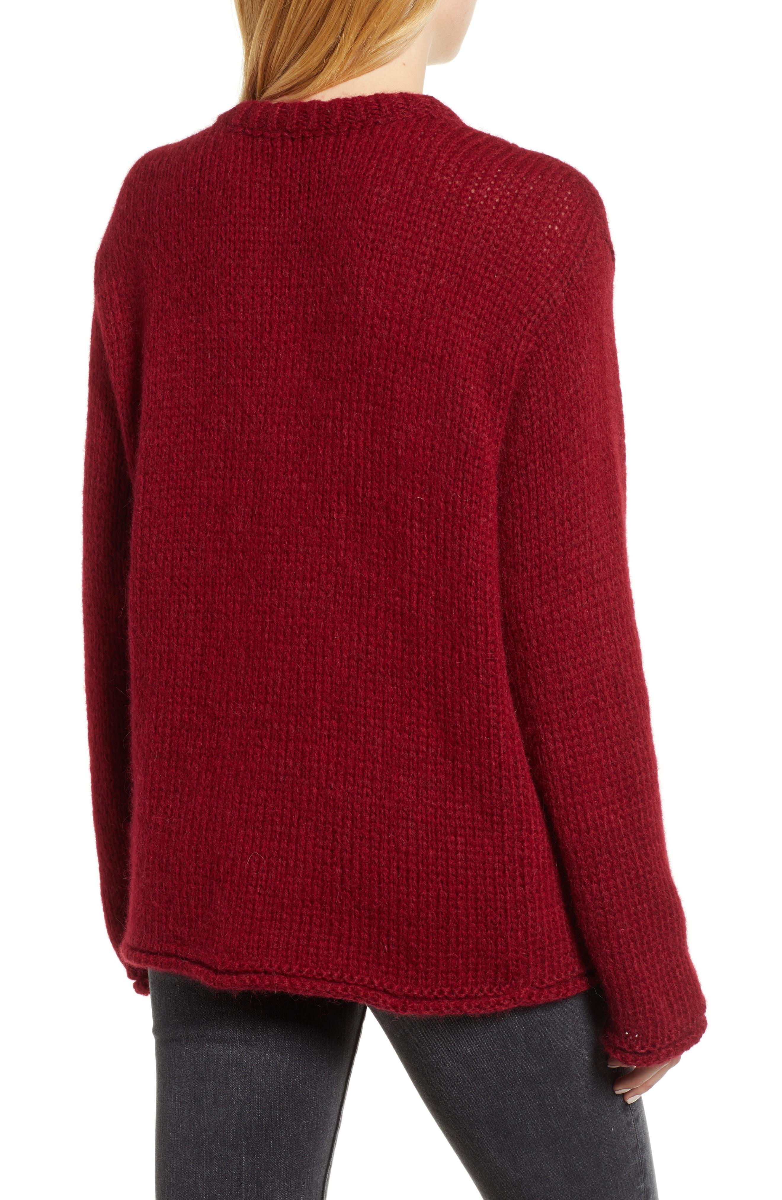 Wool Alpaca Blend Crewneck Sweater,                             Alternate thumbnail 2, color,                             WINE