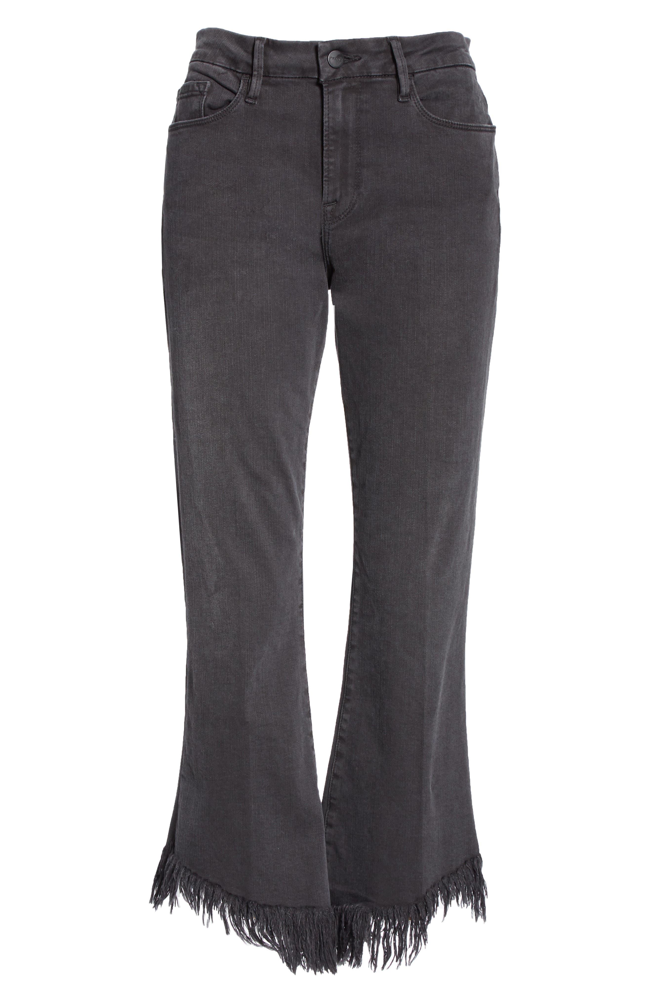 Le Crop Mini Boot Shredded Hem Jeans,                             Alternate thumbnail 6, color,                             001