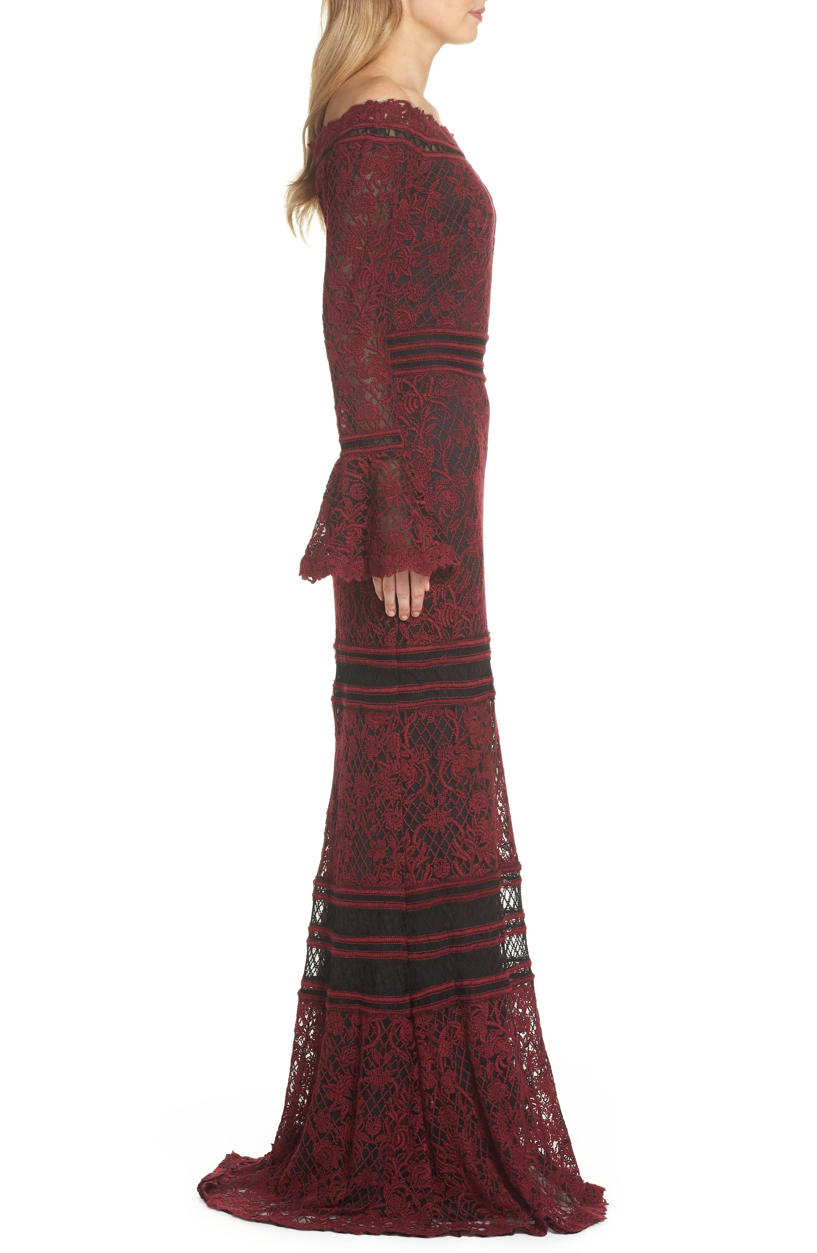 Bell Sleeve Embroidered Lace Gown,                             Alternate thumbnail 3, color,                             AUTUMN/ BLACK