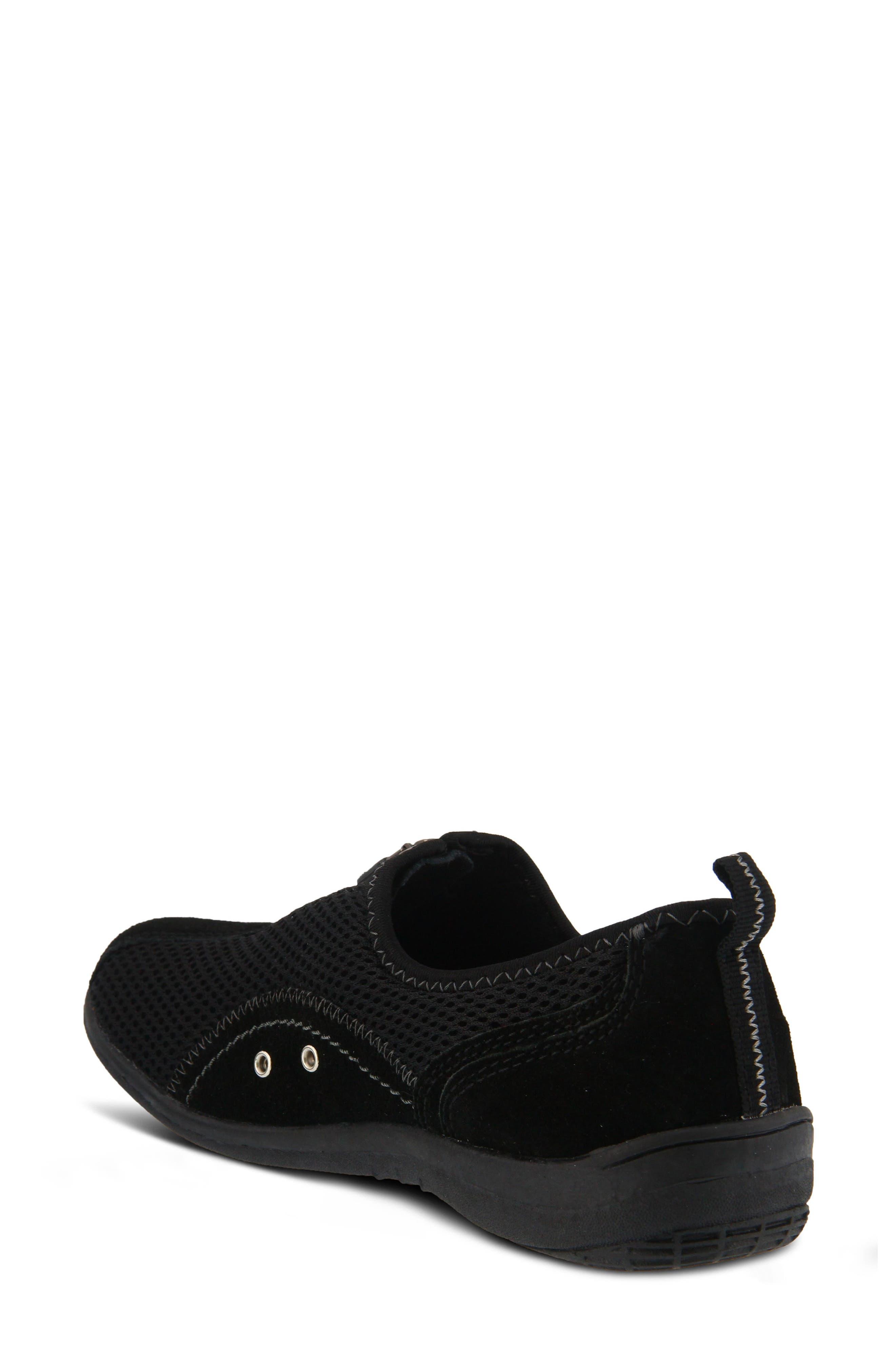 Racer Slip-On Sneaker,                             Alternate thumbnail 2, color,                             BLACK LEATHER